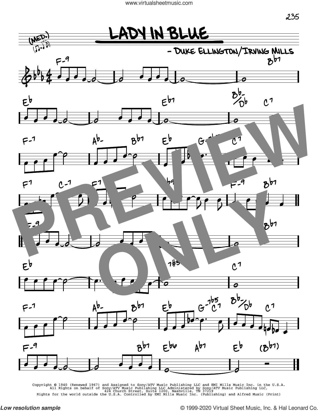 Lady In Blue sheet music for voice and other instruments (real book) by Duke Ellington and Irving Mills, intermediate skill level