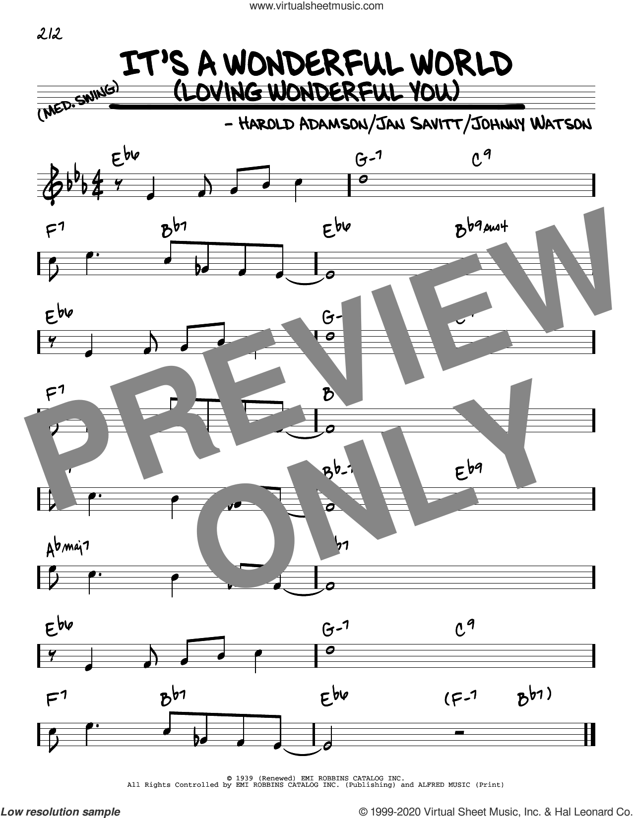 It's A Wonderful World (Loving Wonderful You) sheet music for voice and other instruments (real book) by Frank Sinatra, Harold Adamson, Jan Savitt and Johnny Watson, intermediate skill level