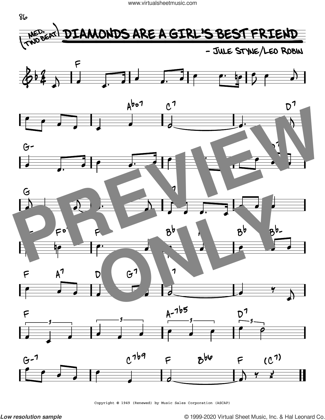 Diamonds Are A Girl's Best Friend sheet music for voice and other instruments (real book) by Jule Styne, Jule Styne and Leo Robin and Leo Robin, intermediate skill level