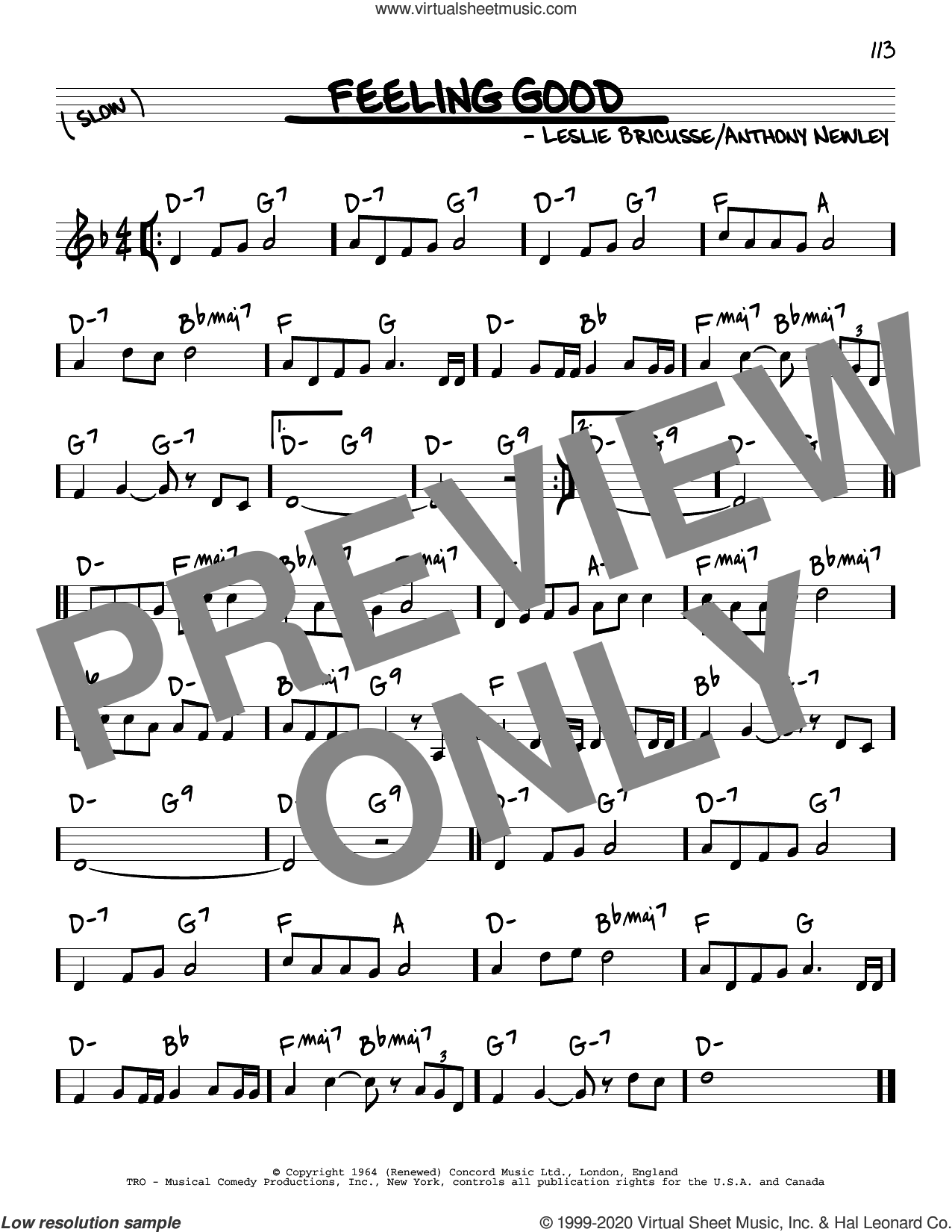 Feeling Good sheet music for voice and other instruments (real book) by Leslie Bricusse, Michael Buble, Anthony Newley and Leslie Bricusse and Anthony Newley, intermediate skill level