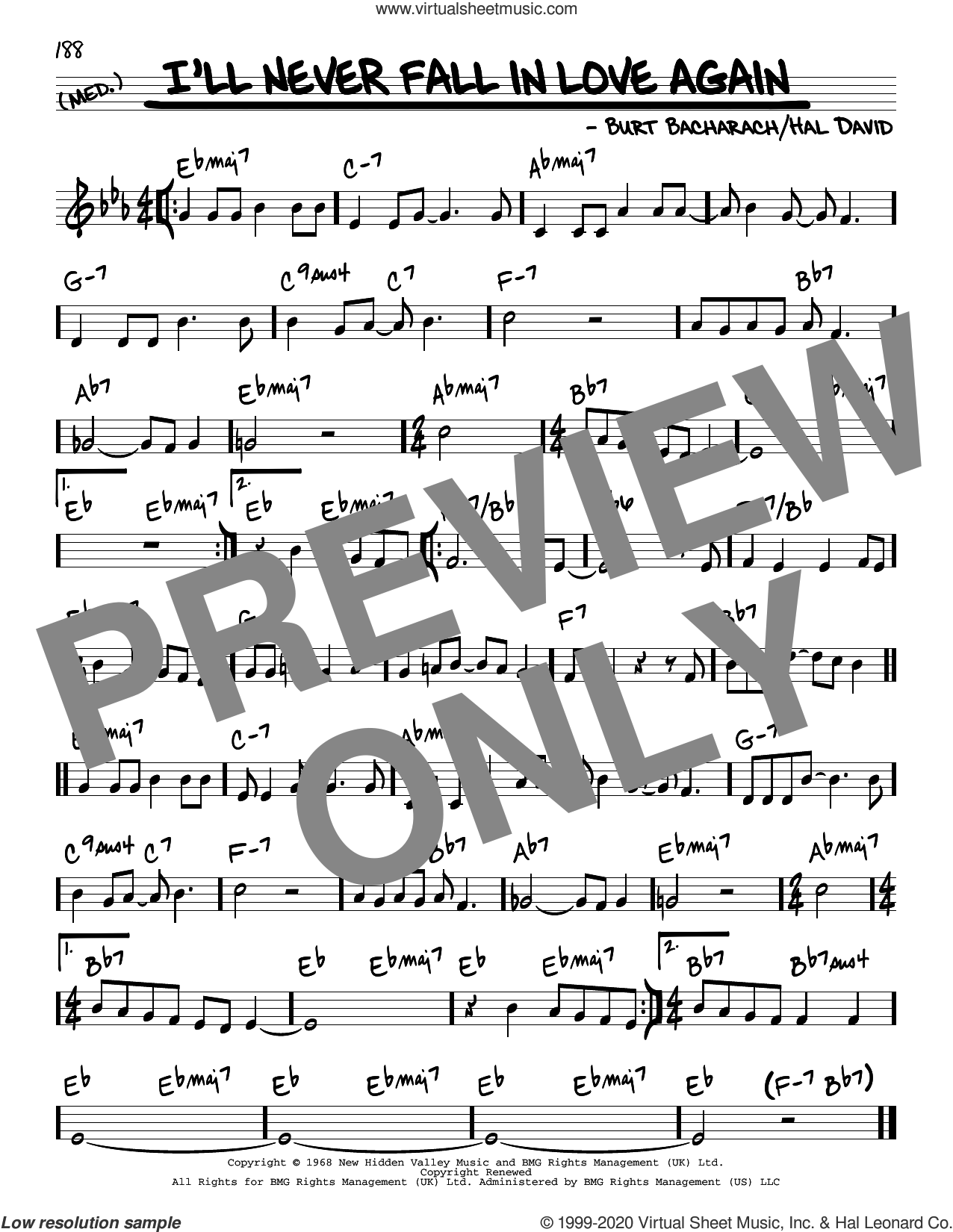 I'll Never Fall In Love Again sheet music for voice and other instruments (real book) by Dionne Warwick, Burt Bacharach and Hal David, intermediate skill level