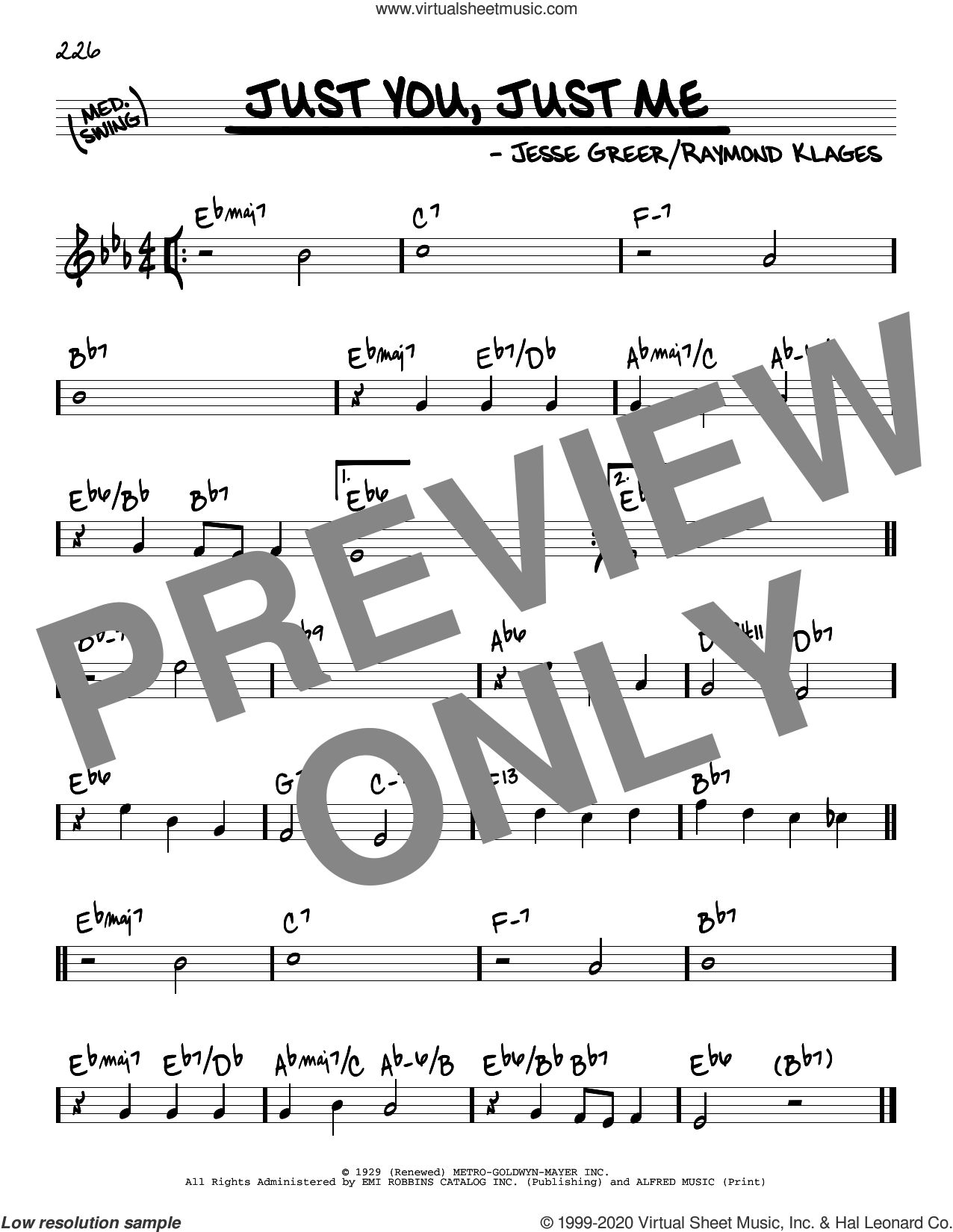 Just You, Just Me sheet music for voice and other instruments (real book) by Raymond Klages and Jesse Greer, intermediate skill level