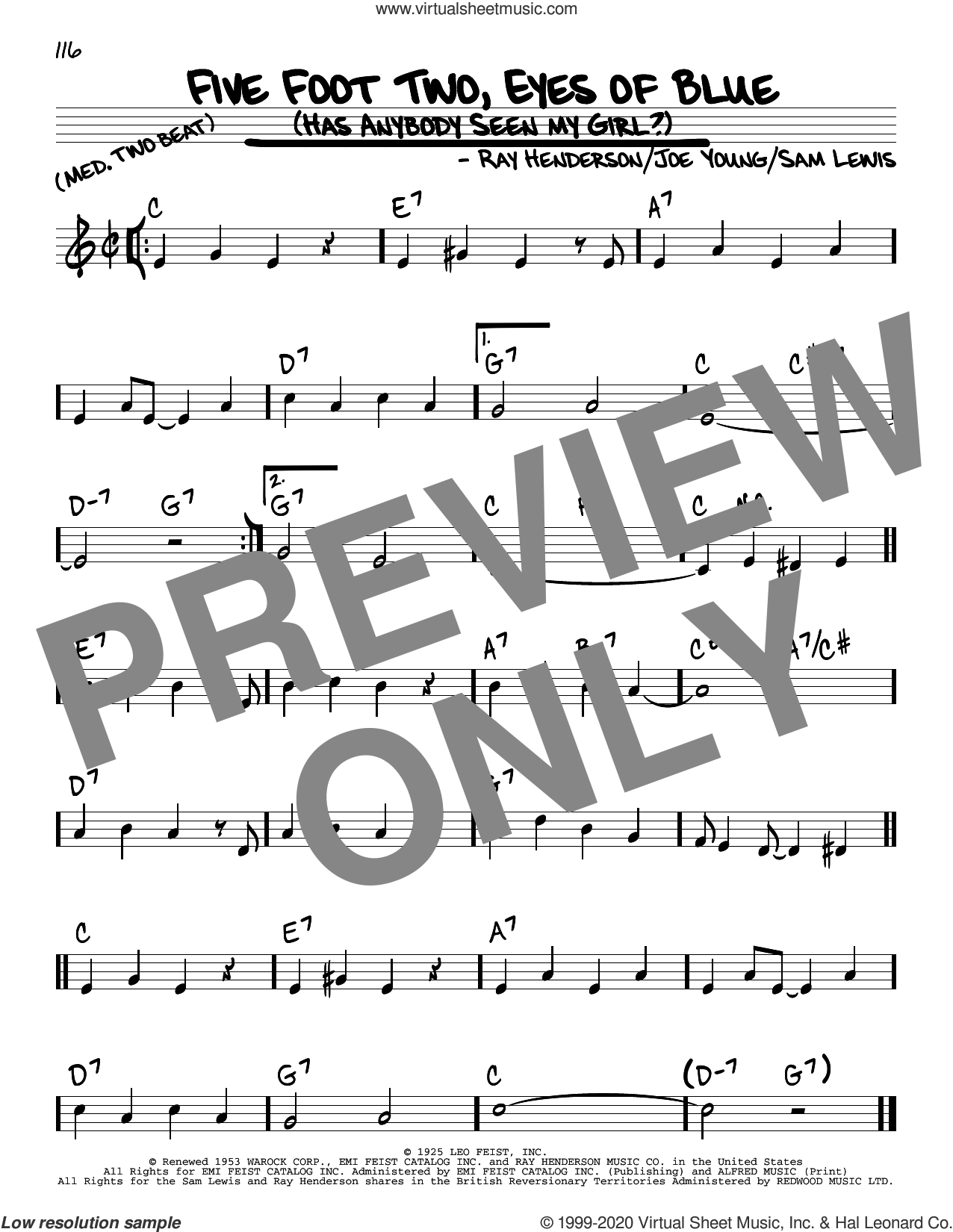 Five Foot Two, Eyes Of Blue (Has Anybody Seen My Girl?) sheet music for voice and other instruments (real book) by Joe Young, Ray Henderson and Sam Lewis, intermediate skill level