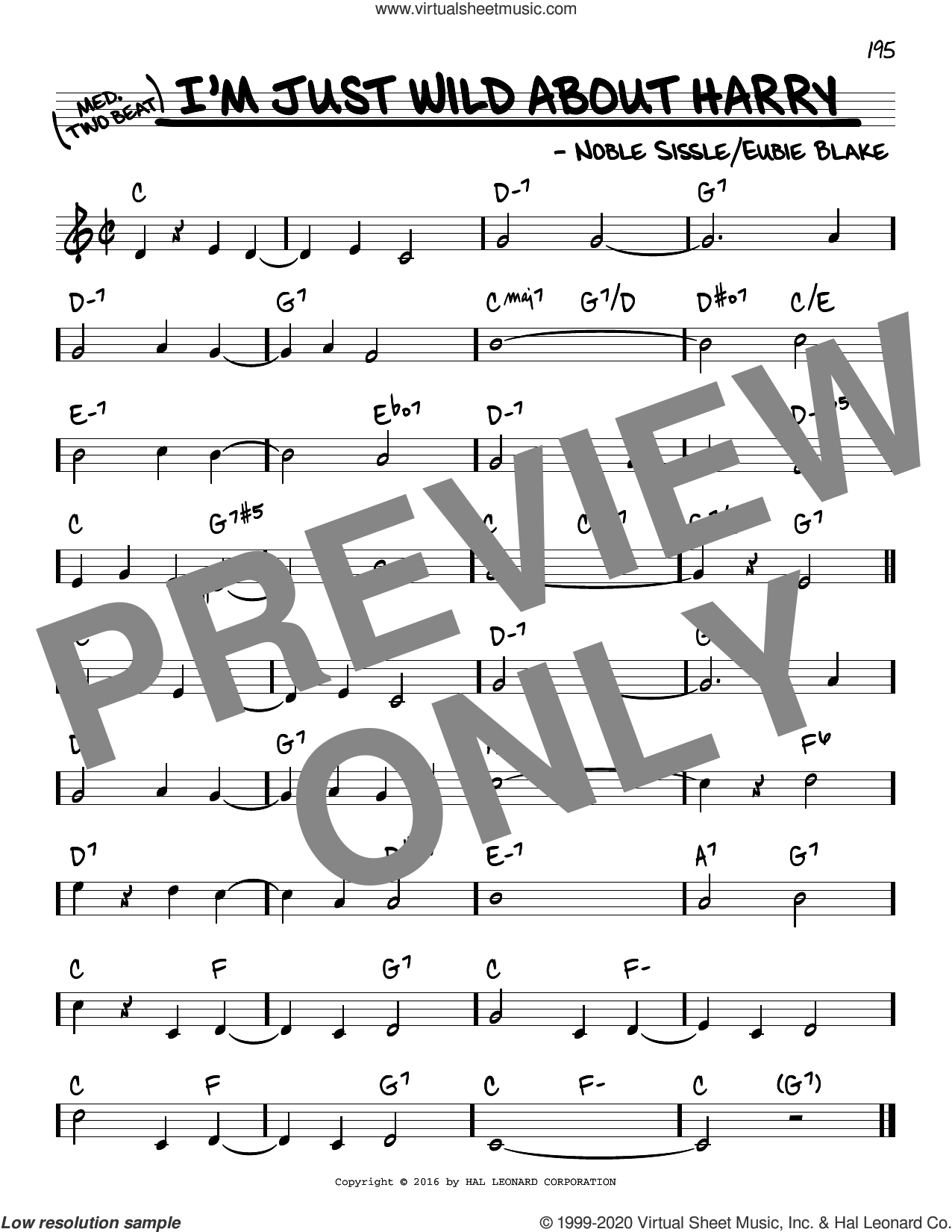 I'm Just Wild About Harry sheet music for voice and other instruments (real book) by Noble Sissle and Eubie Blake, intermediate skill level