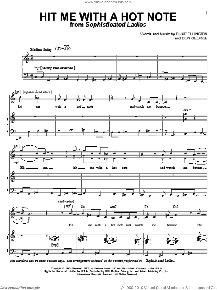 Hit Me With A Hot Note sheet music for voice and piano by Duke Ellington and Don George, intermediate skill level