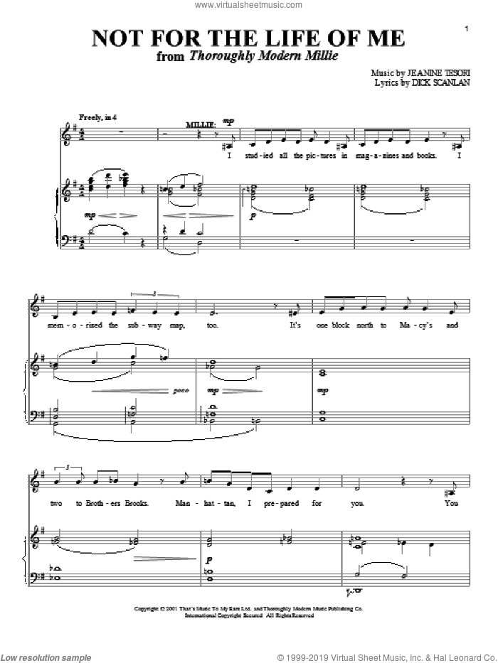 Not For The Life Of Me sheet music for voice and piano by Jeanine Tesori