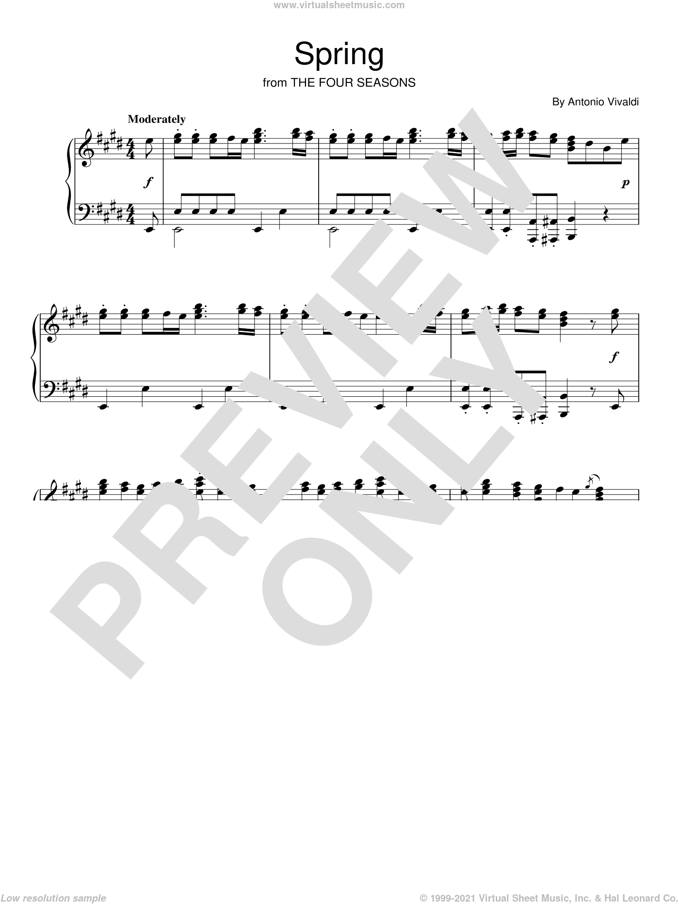 Spring (from The Four Seasons) sheet music for piano solo by Antonio Vivaldi, classical score, intermediate skill level