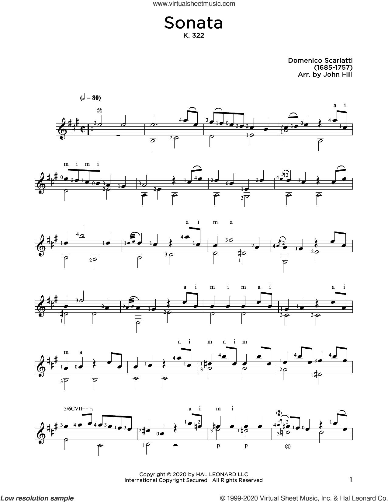 Sonata In A sheet music for guitar solo by Domenico Scarlatti and John Hill, classical score, intermediate skill level