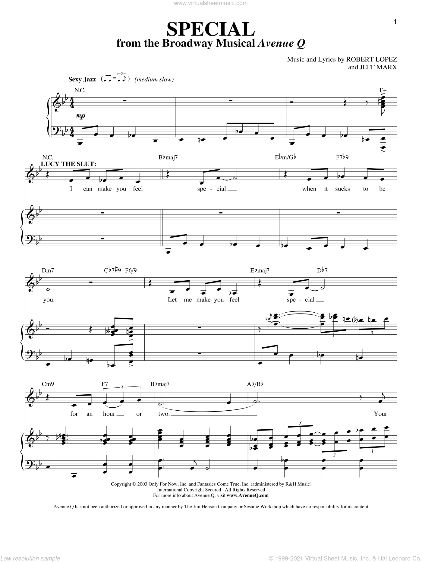 Special (from Avenue Q) sheet music for voice and piano by Avenue Q, Jeff Marx, Robert Lopez and Robert Lopez & Jeff Marx, intermediate skill level