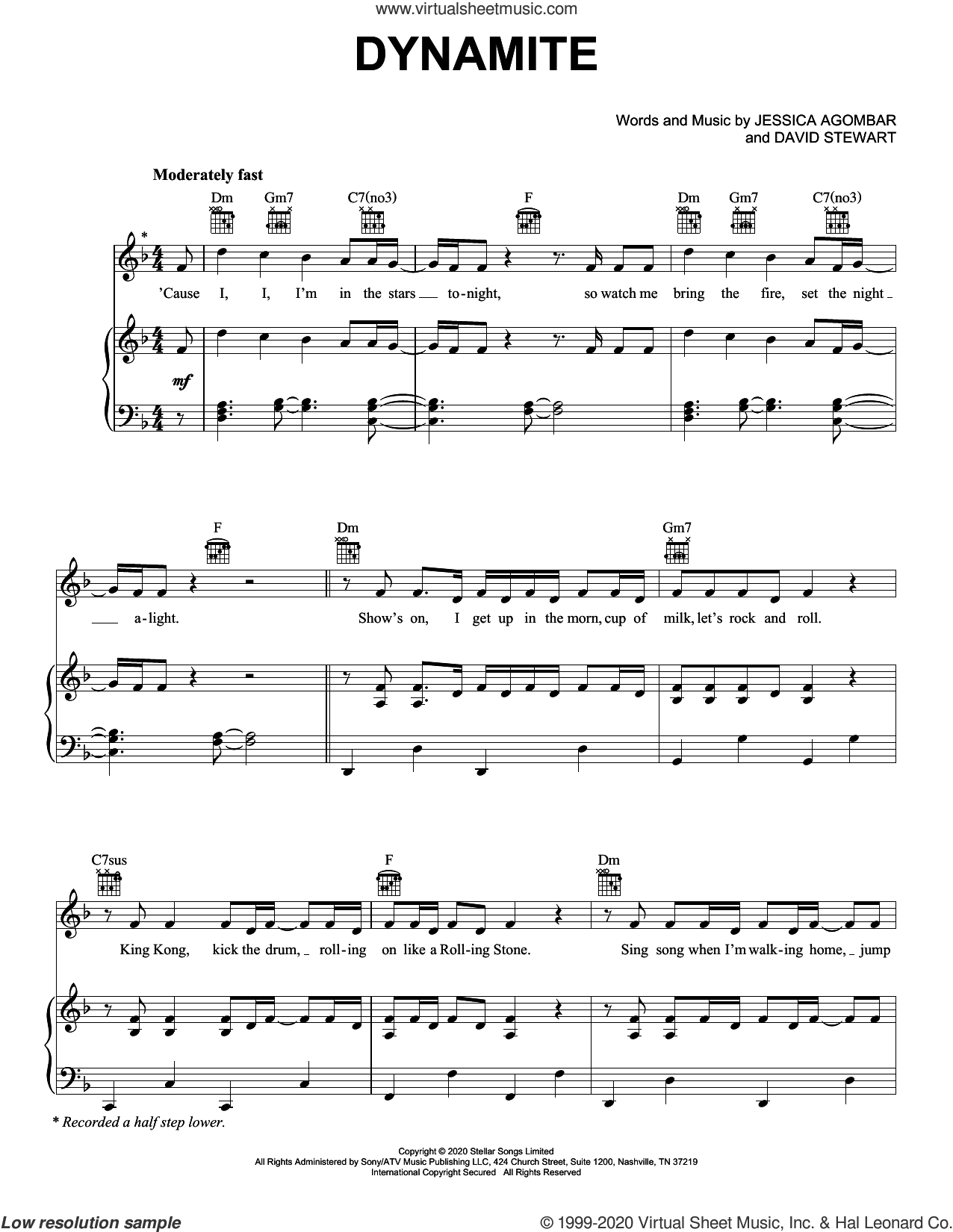Dynamite sheet music for voice, piano or guitar by BTS, Dave Stewart and Jessica  Agombar, intermediate skill level