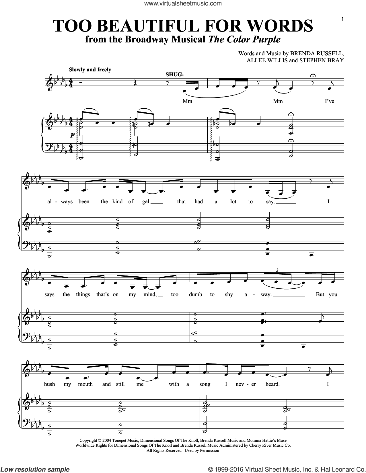 Too Beautiful For Words sheet music for voice and piano by Allee Willis, Brenda Russell and Stephen Bray, intermediate skill level