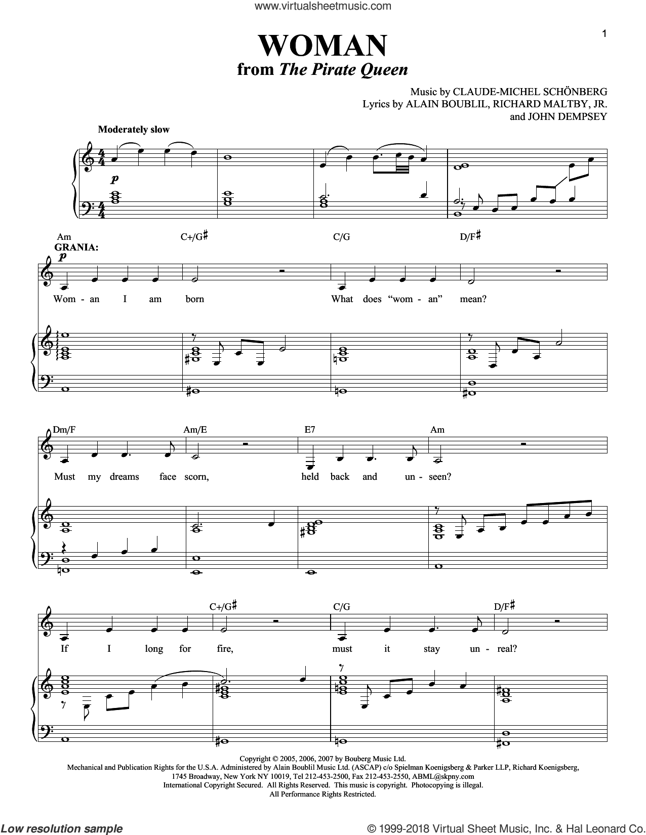 Woman sheet music for voice and piano by Alain Boublil, Claude-Michel Schonberg, John Dempsey and Richard Maltby, Jr., intermediate skill level