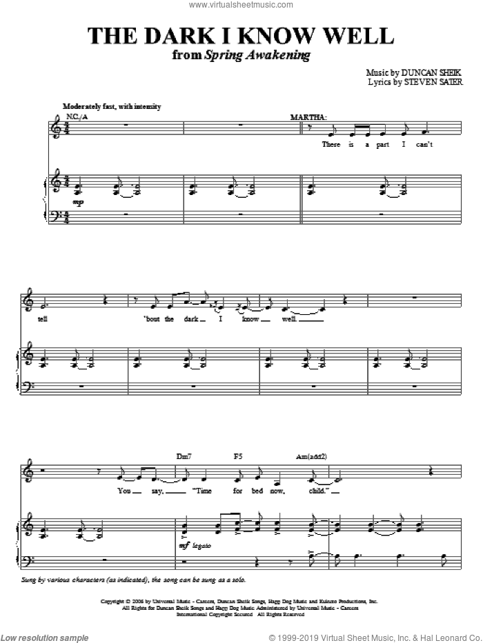The Dark I Know Well sheet music for voice and piano by Duncan Sheik, Spring Awakening (Musical) and Steven Sater, intermediate skill level