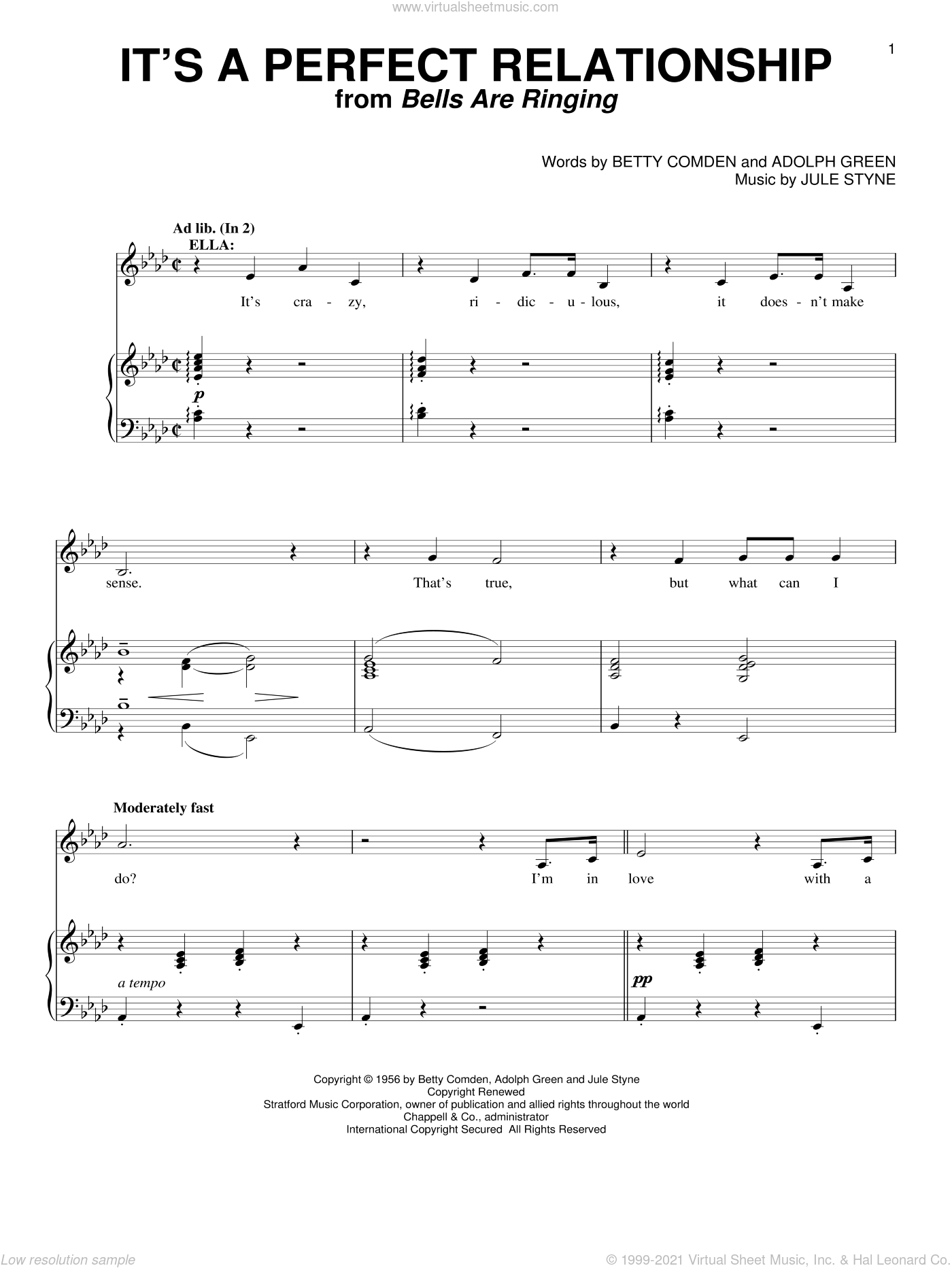 It's A Perfect Relationship sheet music for voice and piano by Betty Comden, Adolph Green and Jule Styne, intermediate skill level