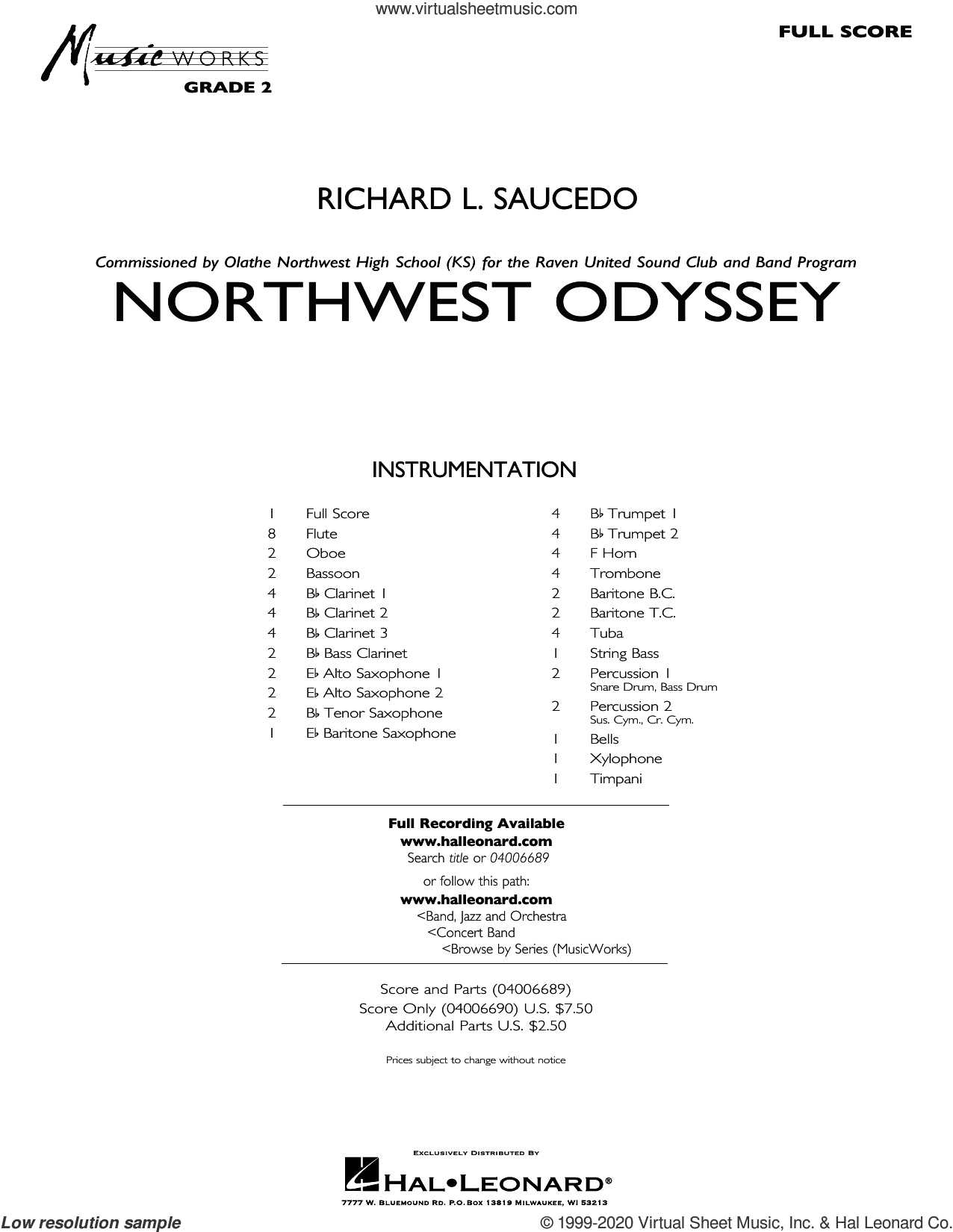 Northwest Odyssey (COMPLETE) sheet music for concert band by Richard L. Saucedo, intermediate skill level