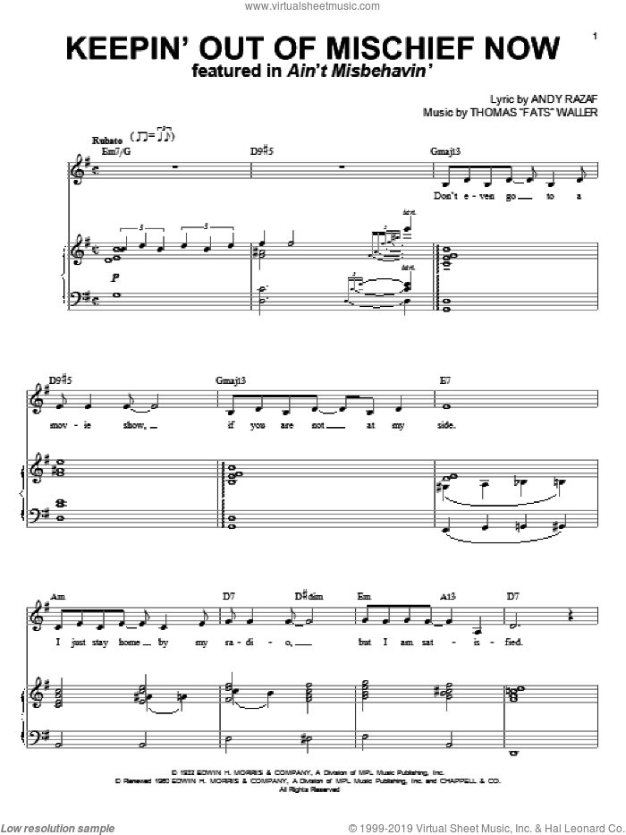 Keepin' Out Of Mischief Now sheet music for voice and piano by Andy Razaf and Thomas Waller and Thomas Waller, intermediate. Score Image Preview.