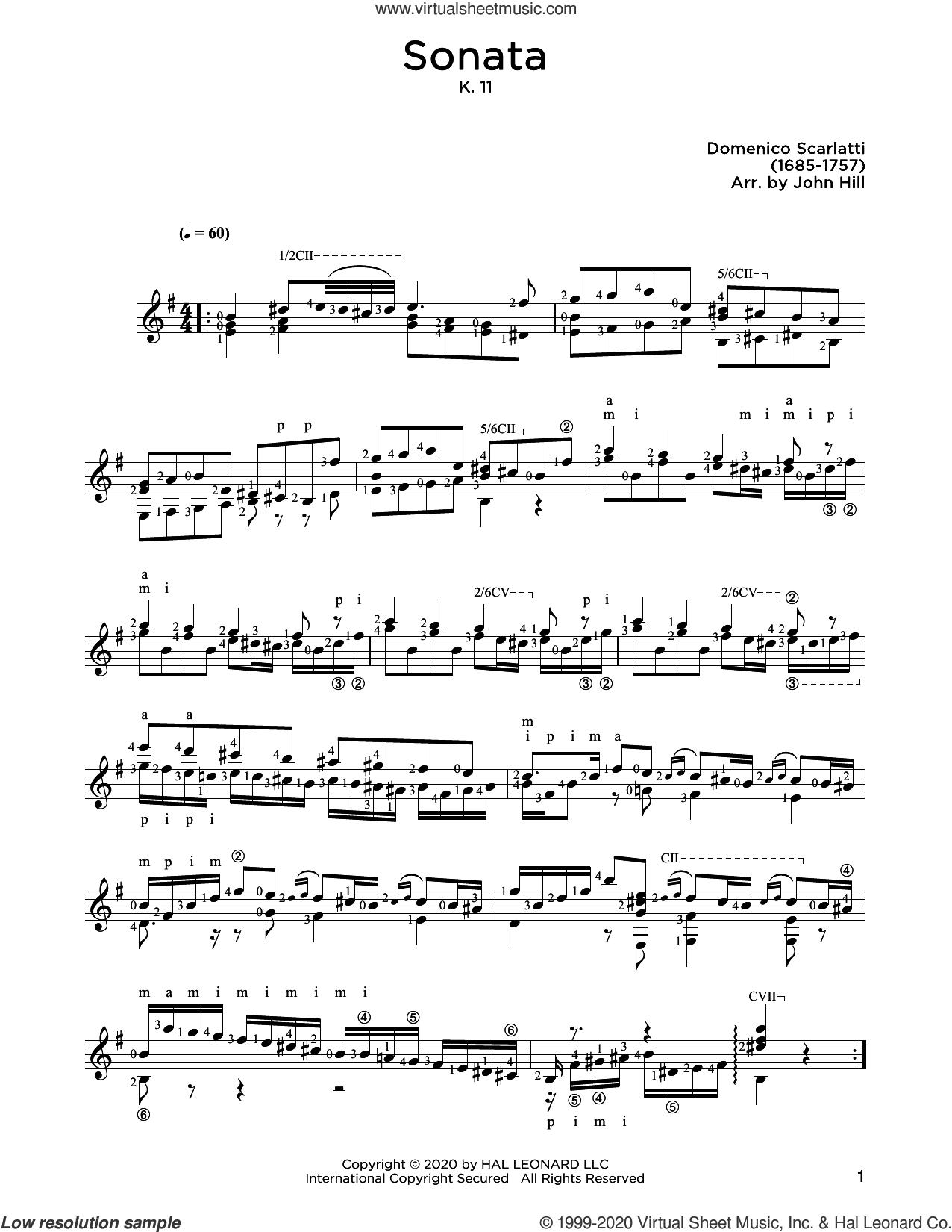 Sonata, L. 352 sheet music for guitar solo by Domenico Scarlatti and John Hill, classical score, intermediate skill level