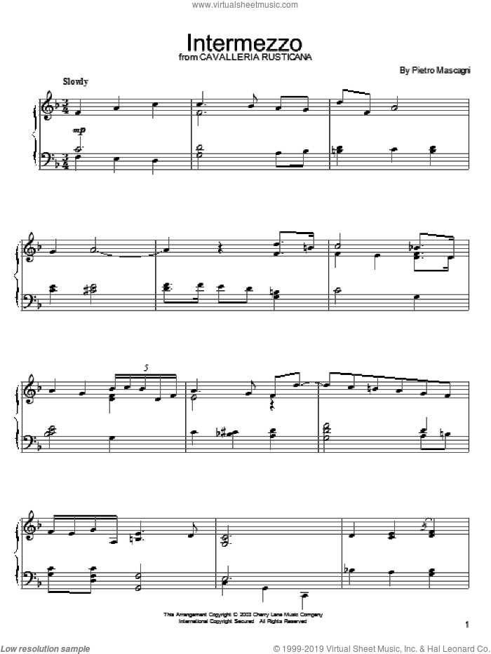 Intermezzo sheet music for piano solo by Pietro Mascagni, classical score, intermediate skill level