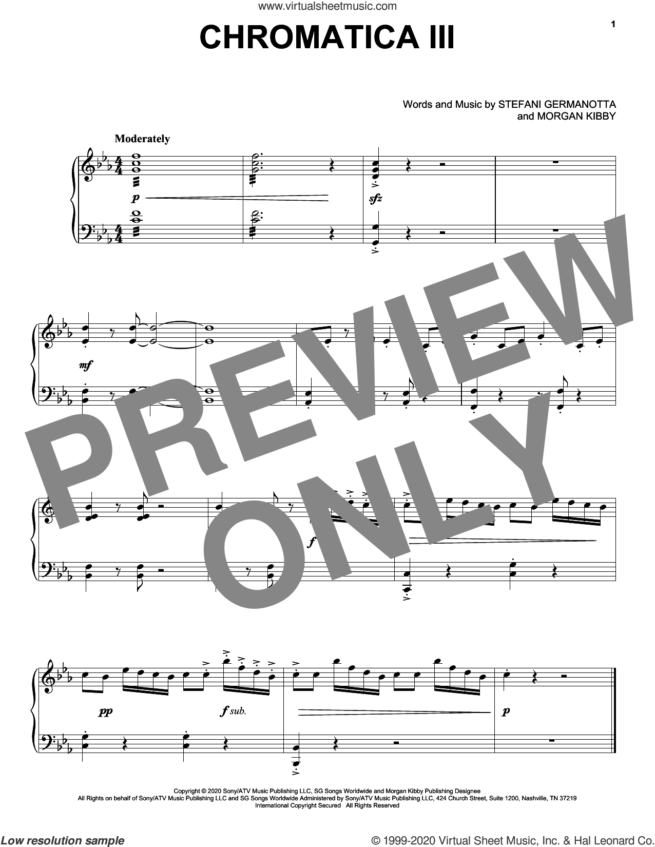 Chromatica III sheet music for voice, piano or guitar by Lady Gaga and Morgan Kibby, intermediate skill level