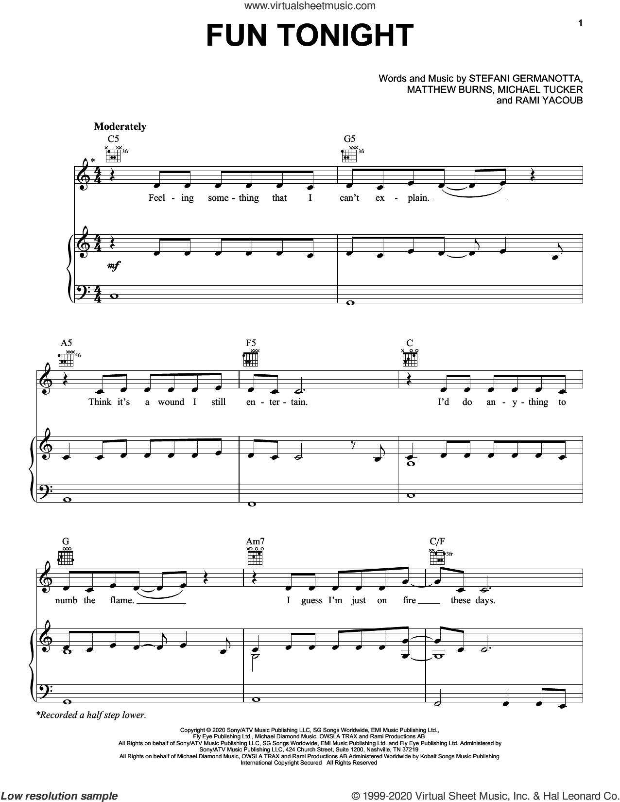 Fun Tonight sheet music for voice, piano or guitar by Lady Gaga, Matthew Burns, Michael Tucker and Rami, intermediate skill level