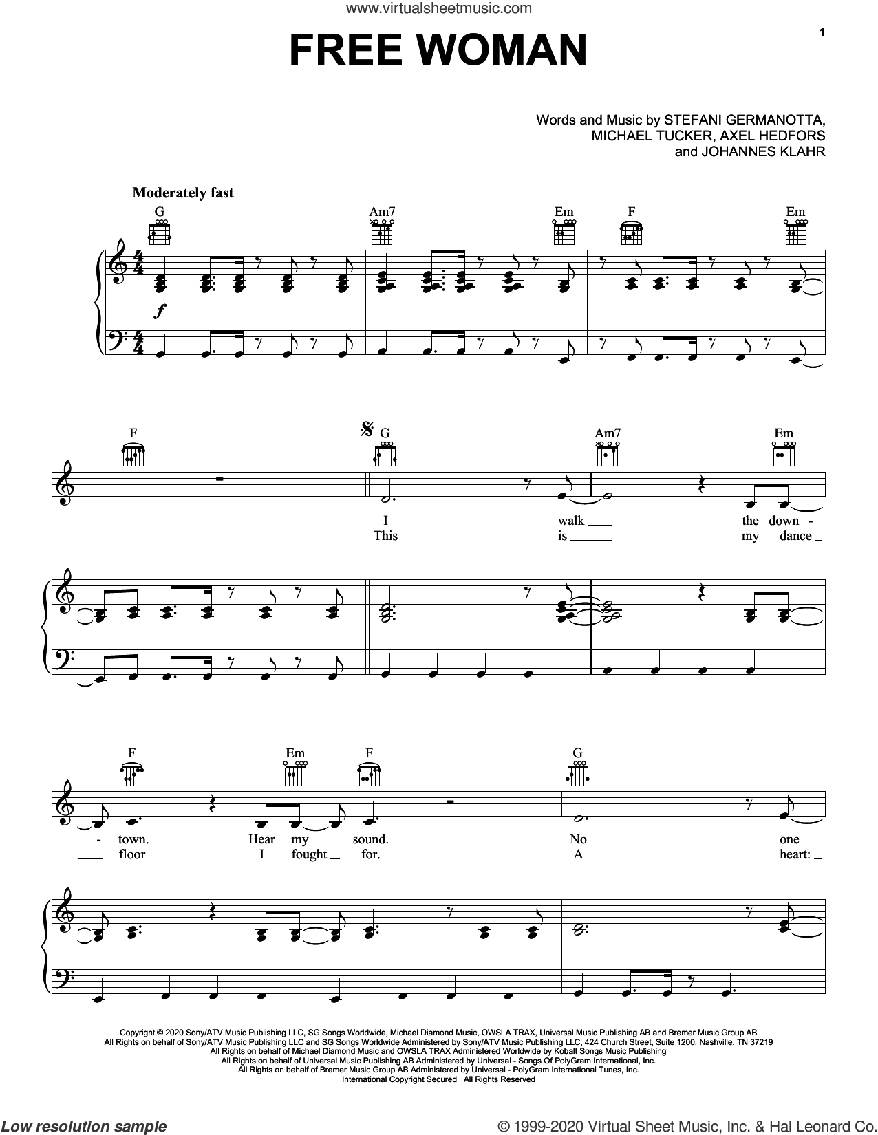 Free Woman sheet music for voice, piano or guitar by Lady Gaga, Axel Hedfors, Johannes Klahr and Michael Tucker, intermediate skill level