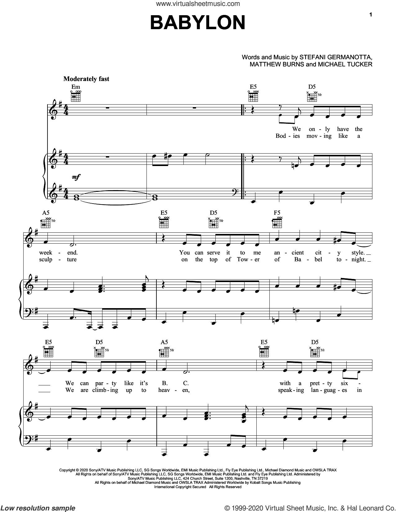 Babylon sheet music for voice, piano or guitar by Lady Gaga, Matthew Burns and Michael Tucker, intermediate skill level