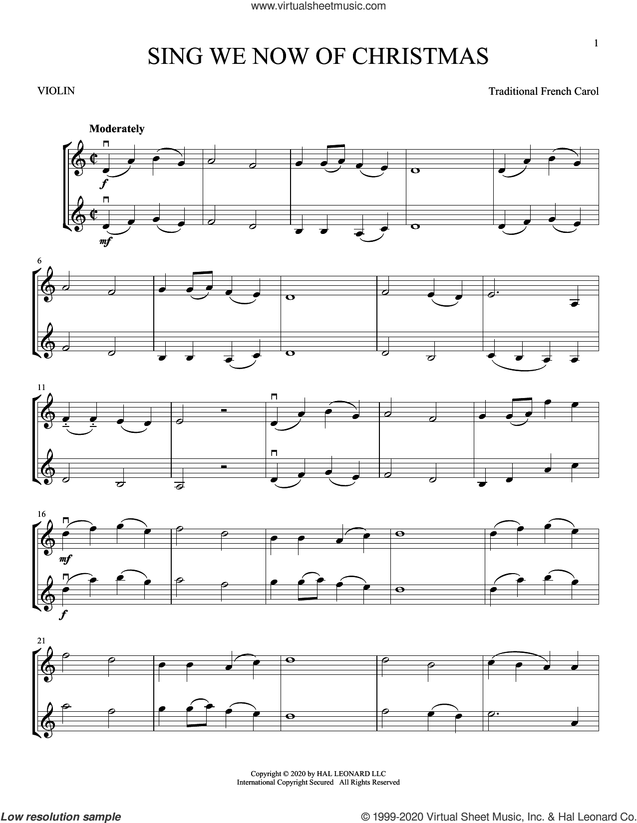 Sing We Now Of Christmas sheet music for two violins (duets, violin duets), intermediate skill level