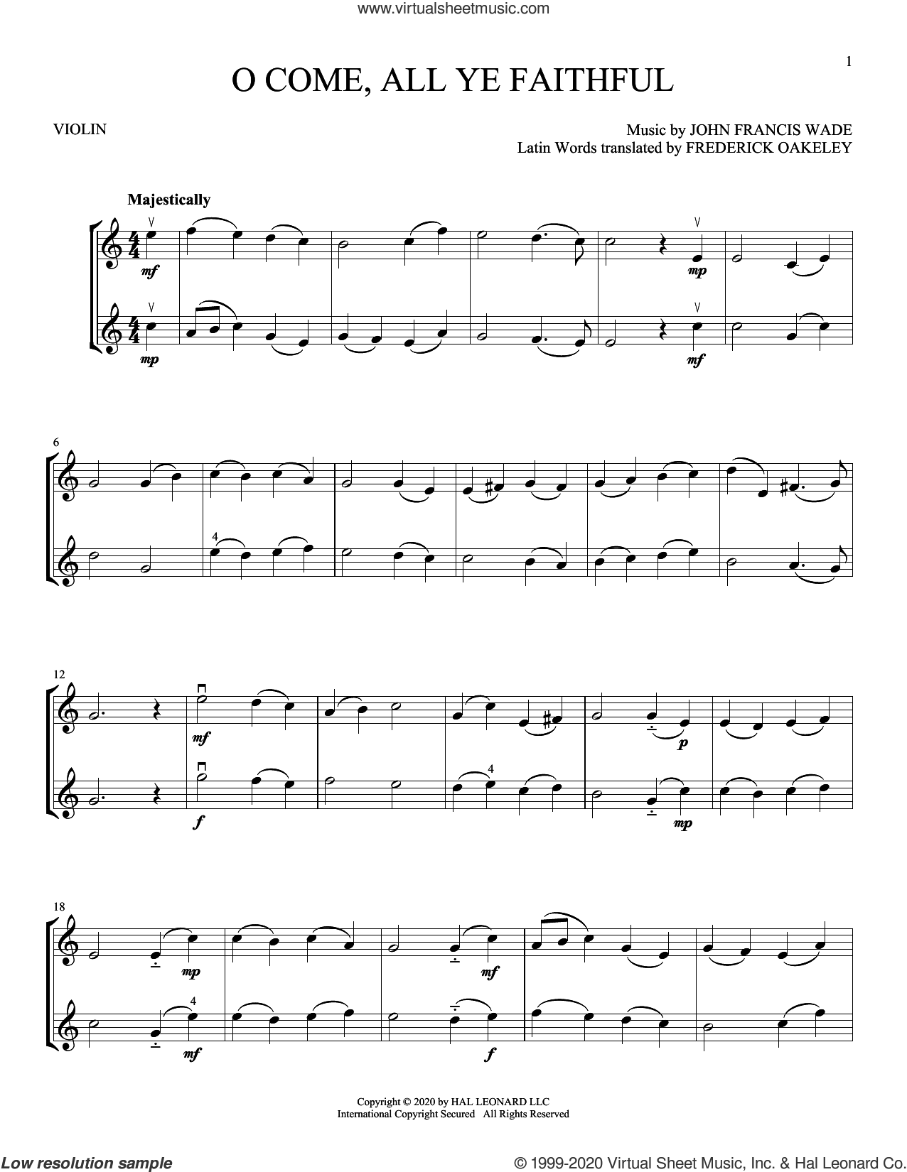 O Come, All Ye Faithful sheet music for two violins (duets, violin duets) by John Francis Wade and Frederick Oakeley, intermediate skill level