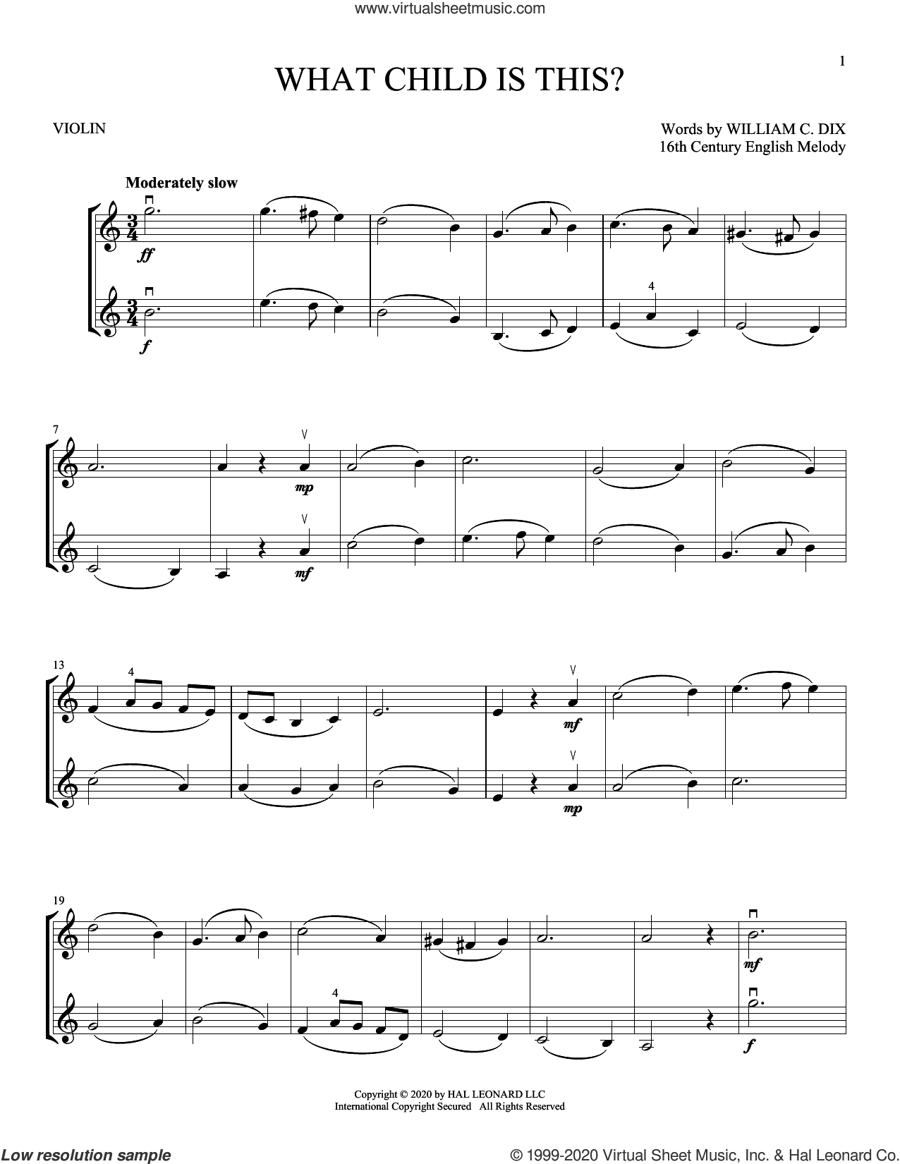 What Child Is This? sheet music for two violins (duets, violin duets) by William Chatterton Dix and Miscellaneous, intermediate skill level