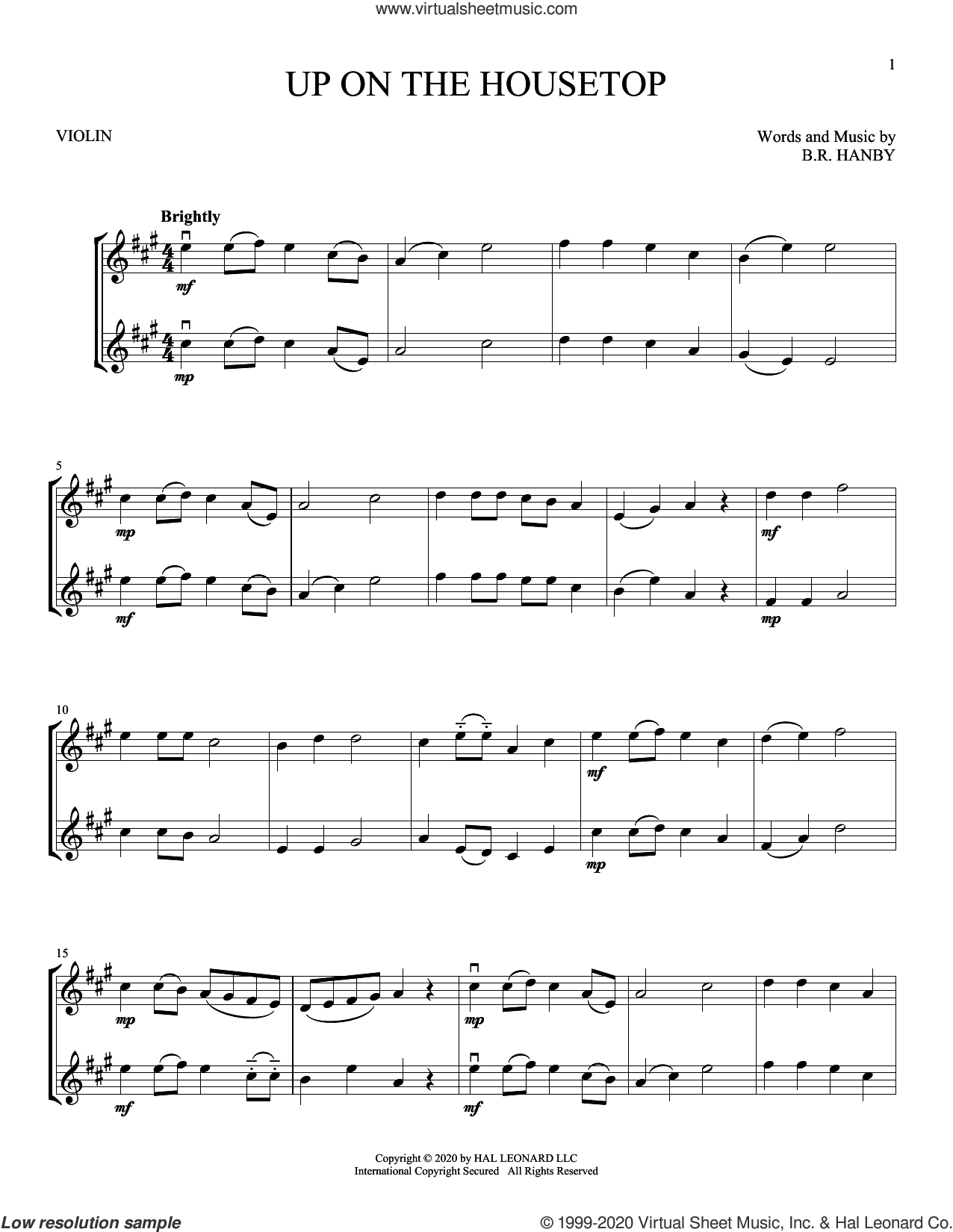 Up On The Housetop sheet music for two violins (duets, violin duets) by Benjamin Hanby, intermediate skill level