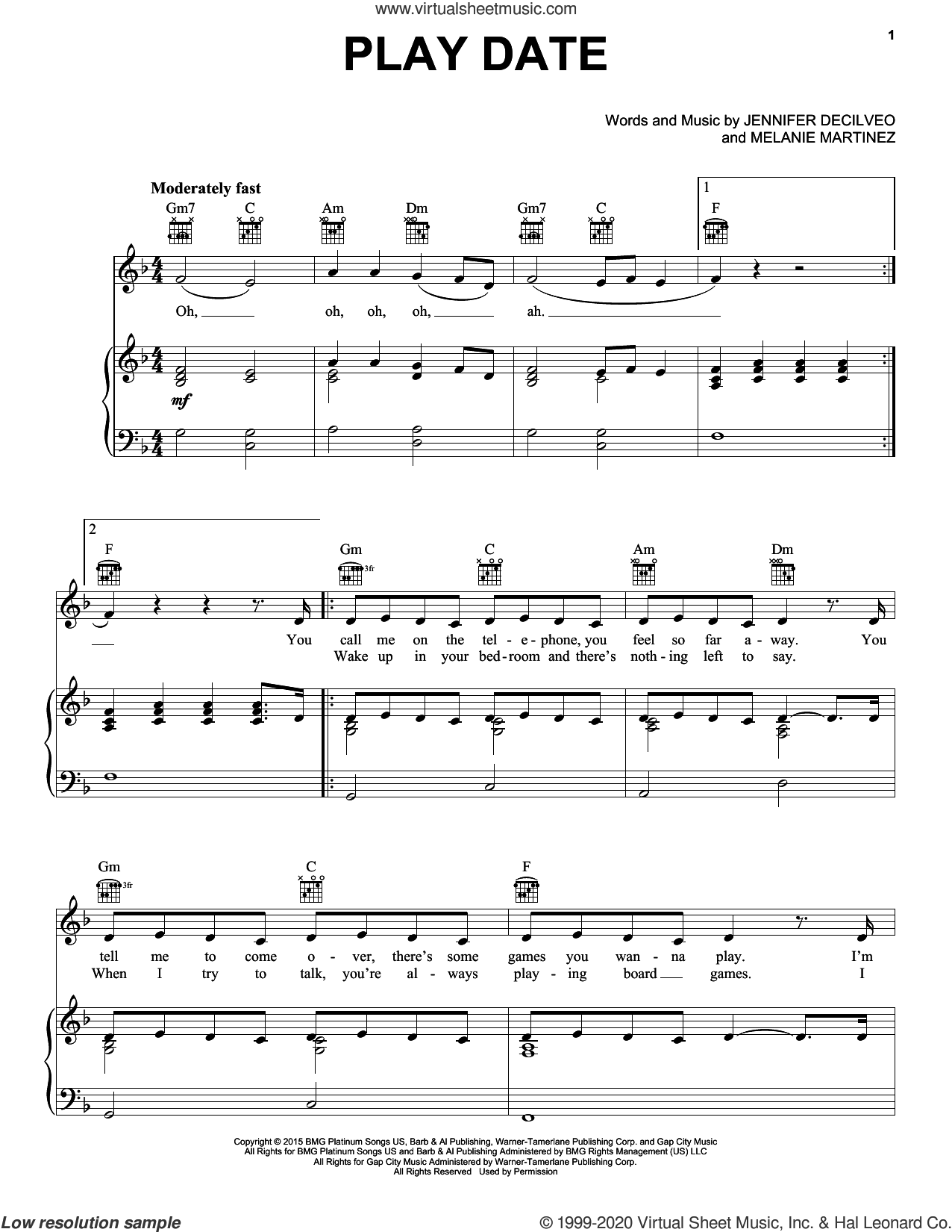 Play Date sheet music for voice, piano or guitar by Melanie Martinez and Jennifer Decilveo, intermediate skill level