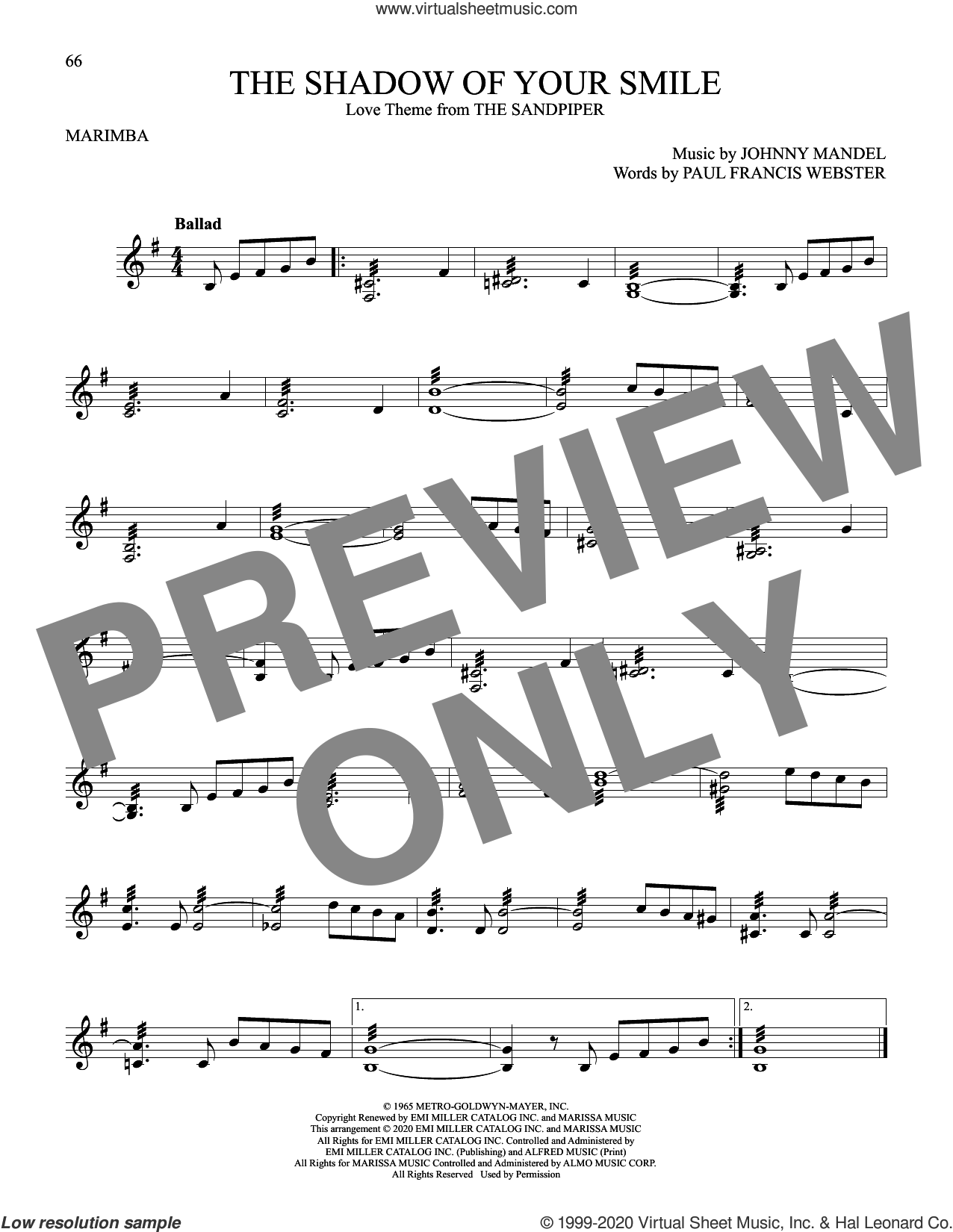 The Shadow Of Your Smile sheet music for Marimba Solo by Paul Francis Webster, Johnny Mandel and Johnny Mandel and Paul Francis Webster, intermediate skill level