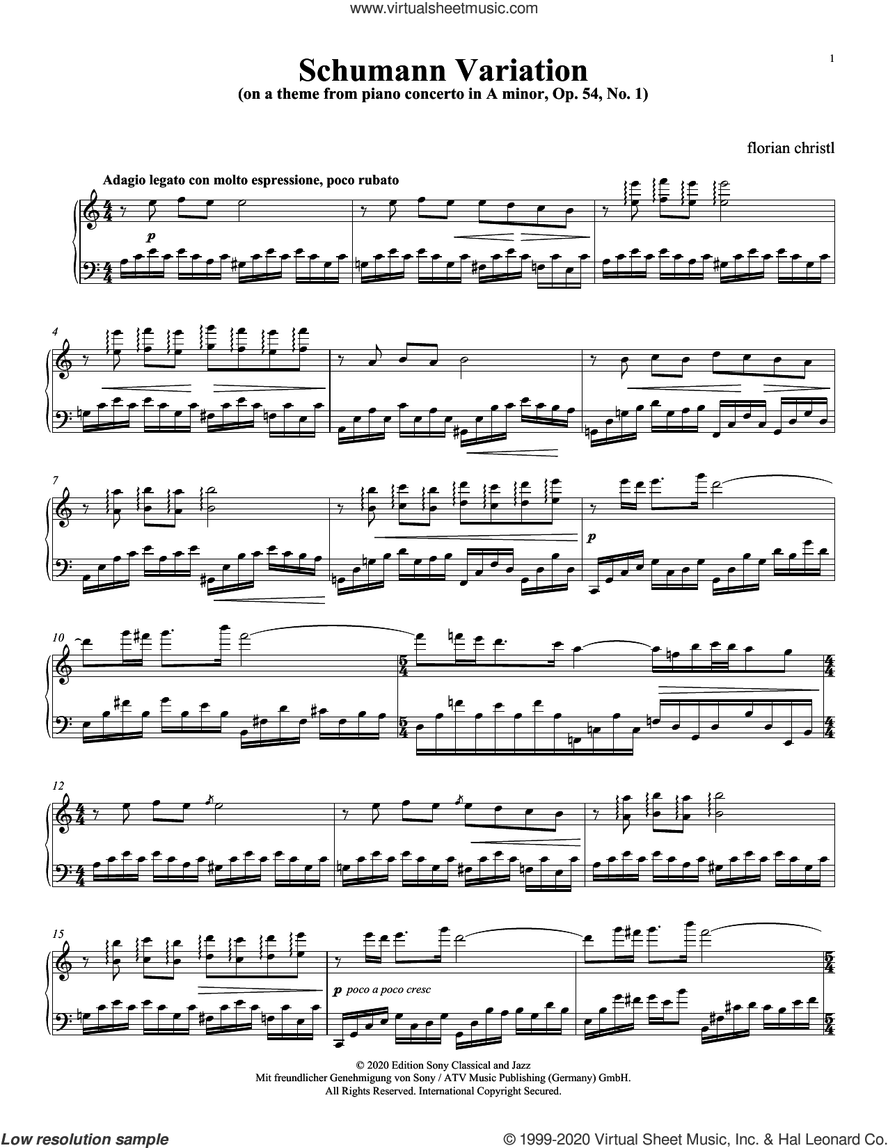 Schumann Variation (on a Theme from Piano Concerto in A Minor, Op. 54: I) sheet music for piano solo by Florian Christl, classical score, intermediate skill level
