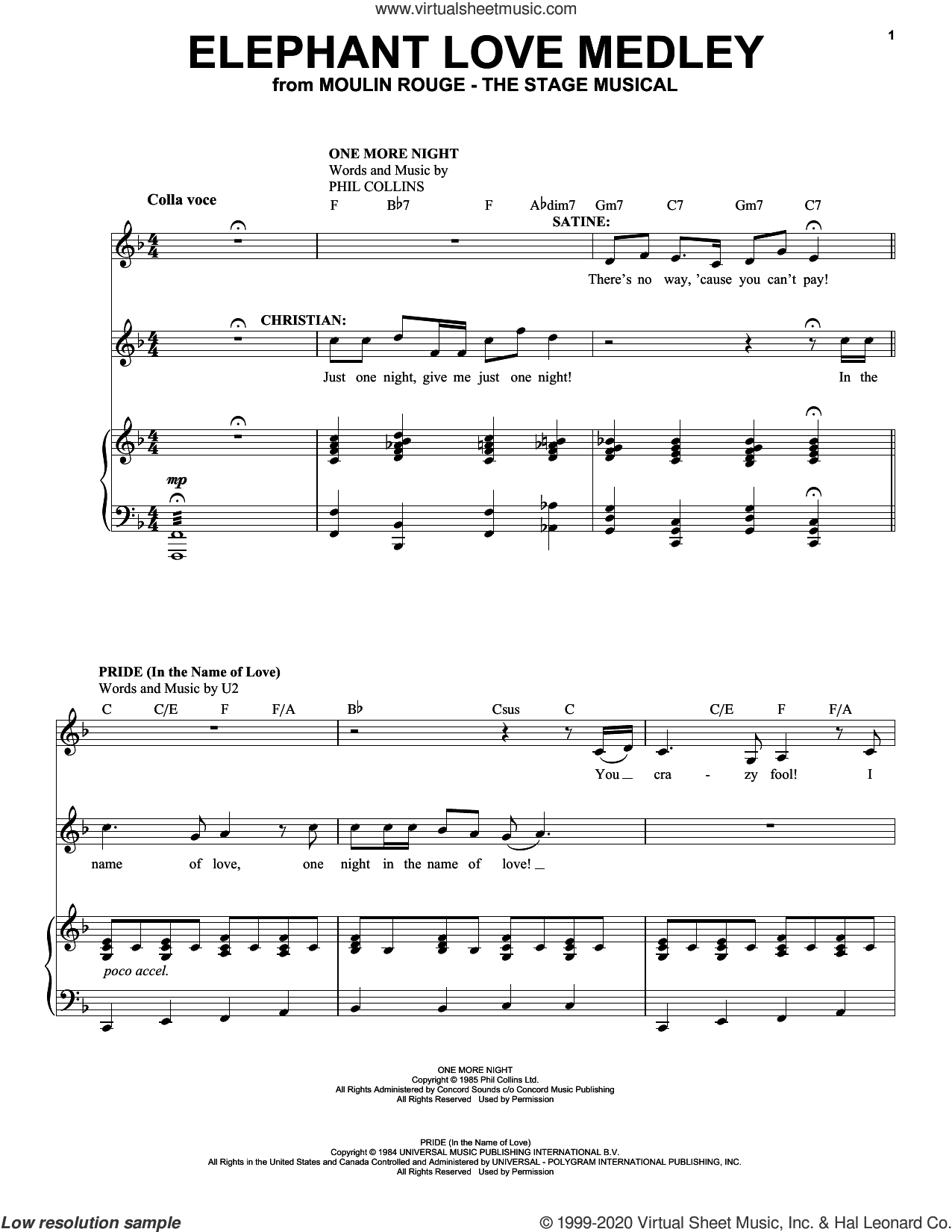 Elephant Love Medley (from Moulin Rouge! The Musical) sheet music for voice and piano by Moulin Rouge! The Musical Cast, intermediate skill level
