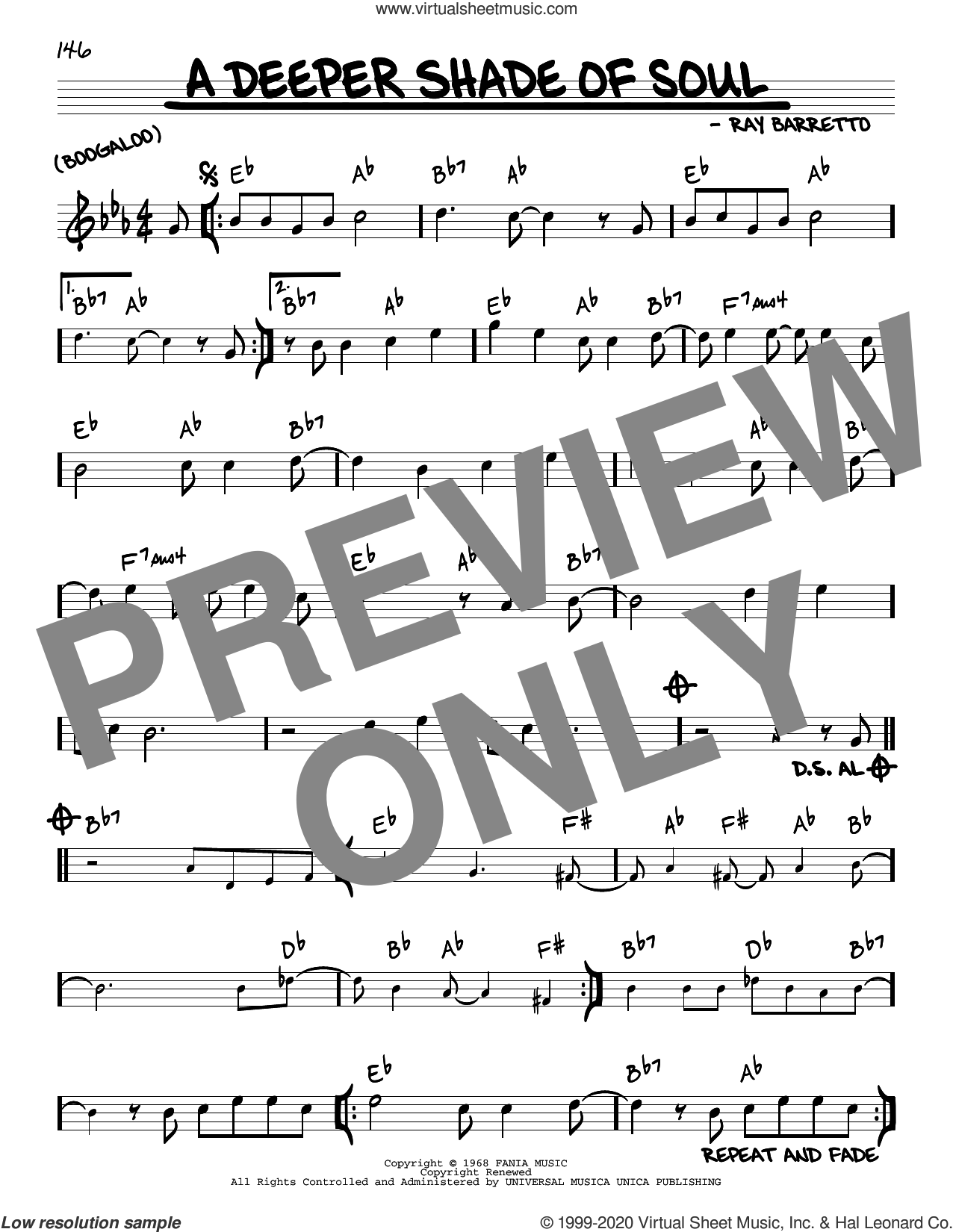 A Deeper Shade Of Soul sheet music for voice and other instruments (real book) by Ray Barretto, intermediate skill level