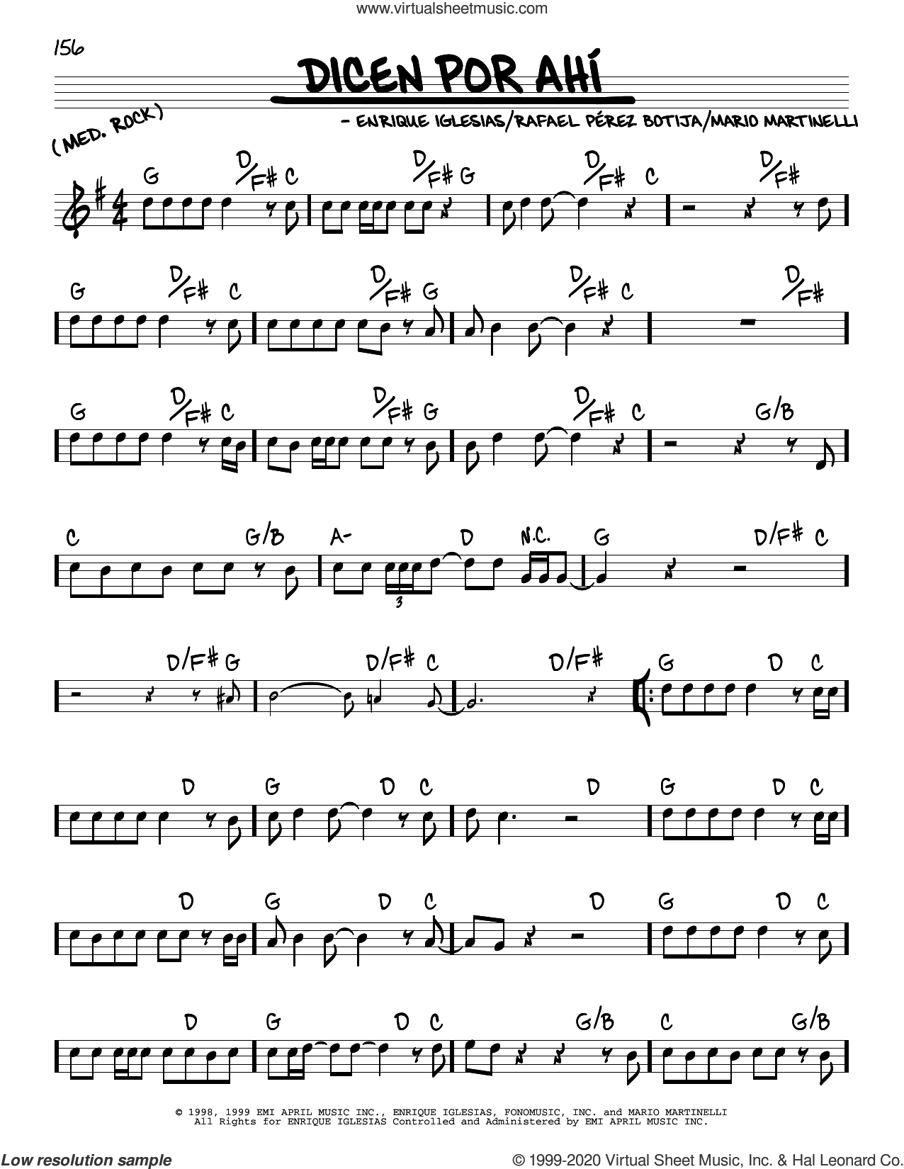 Dicen Por Ahi sheet music for voice and other instruments (real book) by Enrique Iglesias, Mario Martinelli and Rafael Perez Botija, intermediate skill level