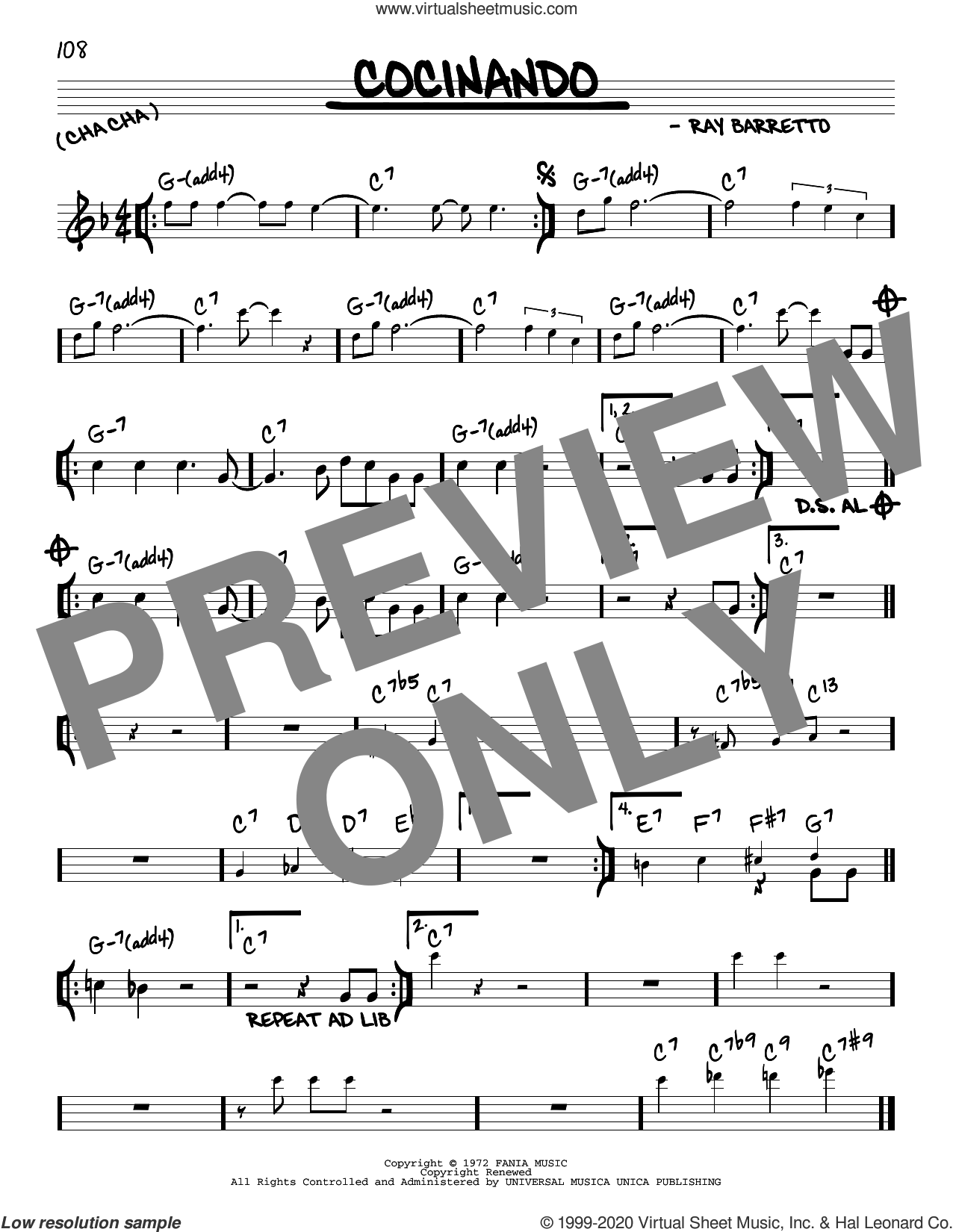 Cocinando sheet music for voice and other instruments (real book) by Ray Barretto, intermediate skill level