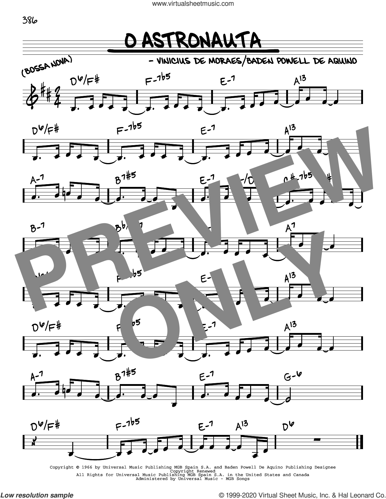 O Astronauta sheet music for voice and other instruments (real book) by Vinicius de Moraes and Baden Powell De Aquino, intermediate skill level