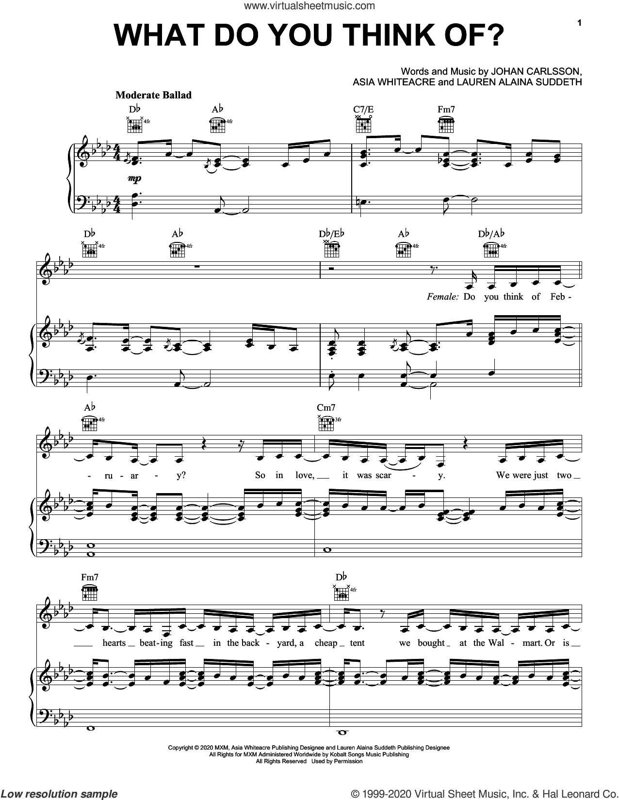 What Do You Think Of? sheet music for voice, piano or guitar by Lauren Alaina & Lukas Graham, Asia Whiteacre, Johan Carlsson and Lauren Alaina Suddeth, intermediate skill level