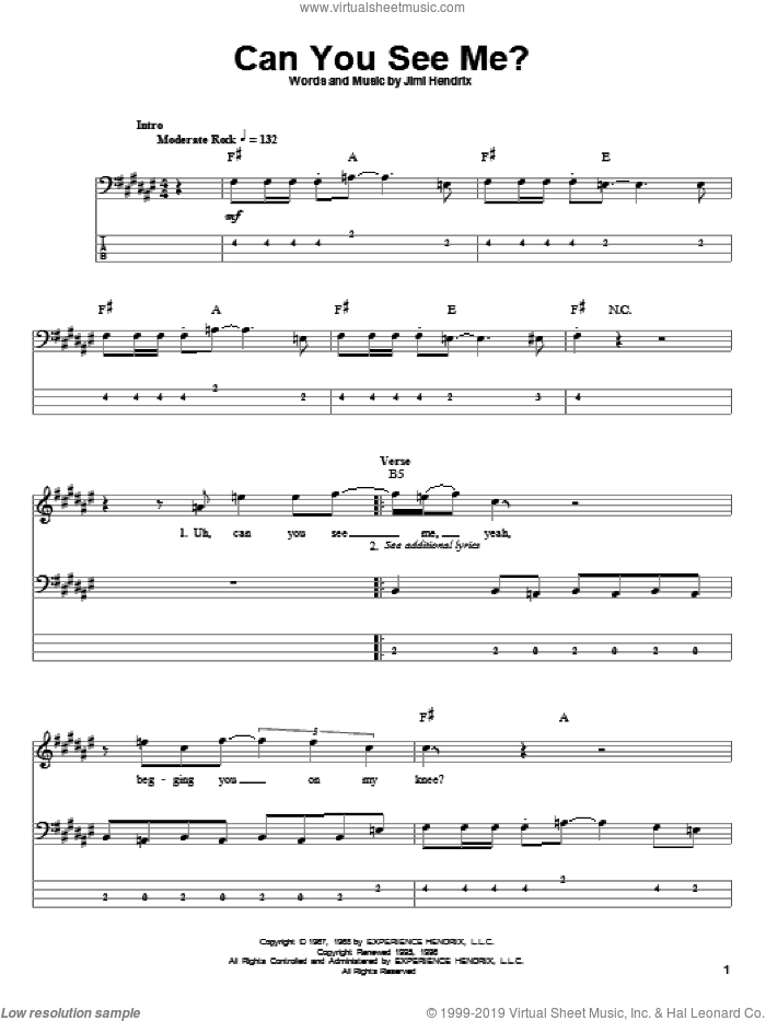 Can You See Me sheet music for bass (tablature) (bass guitar) by Jimi Hendrix