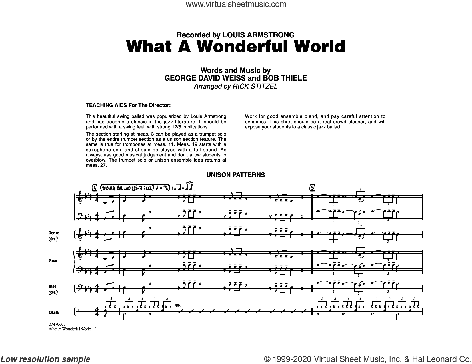 What a Wonderful World (arr. Rick Stitzel) (COMPLETE) sheet music for jazz band by Louis Armstrong, Bob Thiele, George David Weiss and Rick Stitzel, intermediate skill level