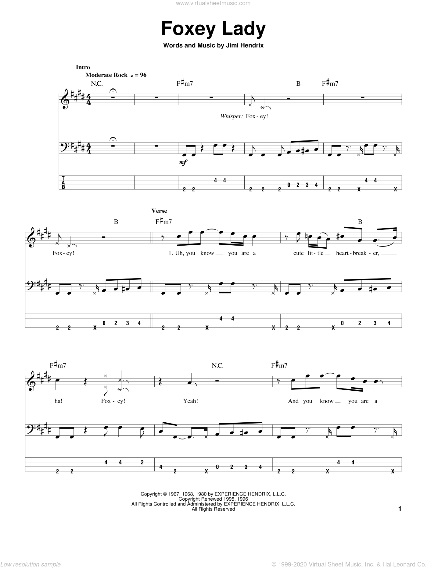 Foxey Lady sheet music for bass (tablature) (bass guitar) by Jimi Hendrix. Score Image Preview.