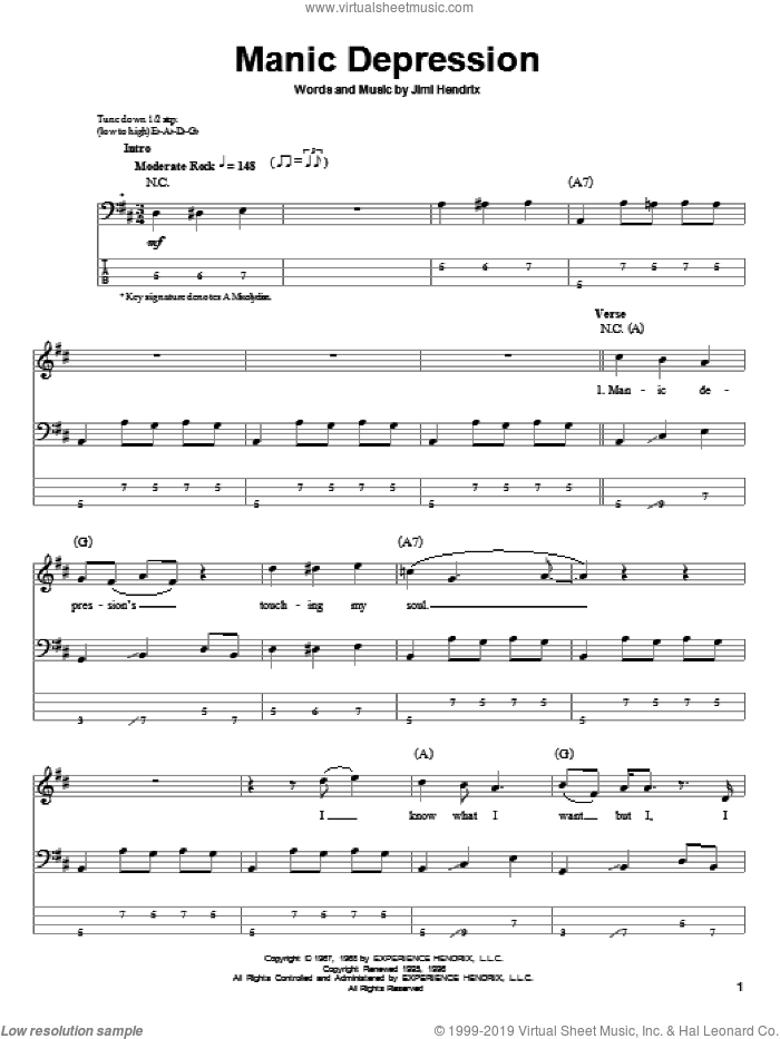 Manic Depression sheet music for bass (tablature) (bass guitar) by Jimi Hendrix. Score Image Preview.
