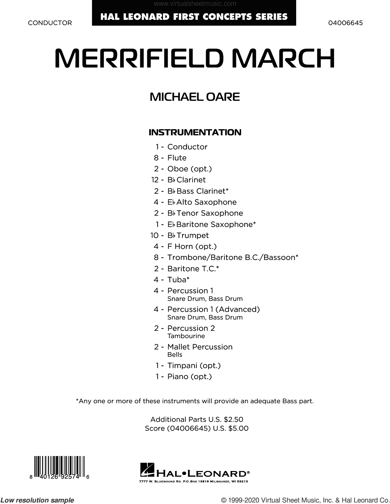 Merrifield March (COMPLETE) sheet music for concert band by Michael Oare, intermediate skill level