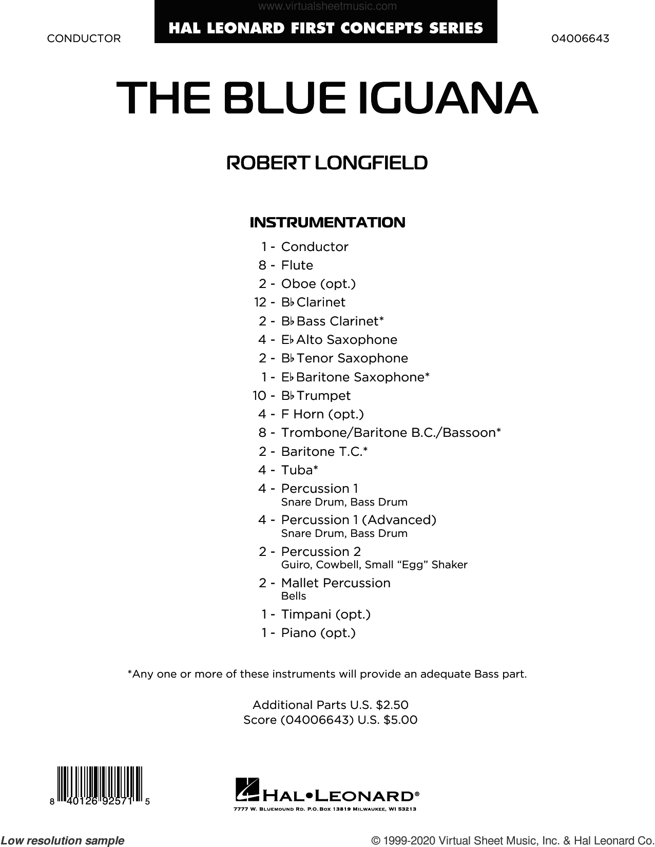 The Blue Iguana (COMPLETE) sheet music for concert band by Robert Longfield, intermediate skill level