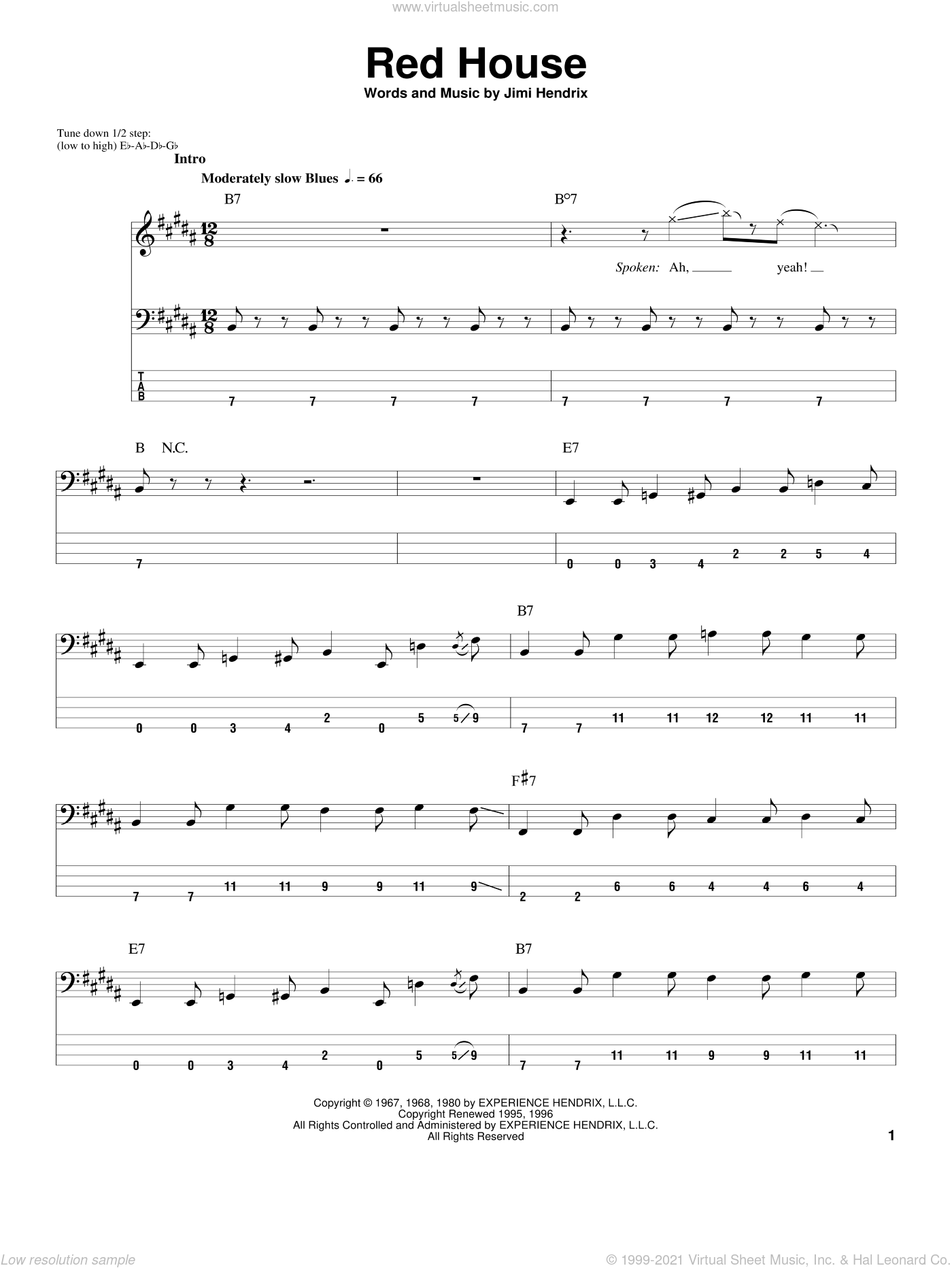 Red House sheet music for bass (tablature) (bass guitar) by Jimi Hendrix. Score Image Preview.