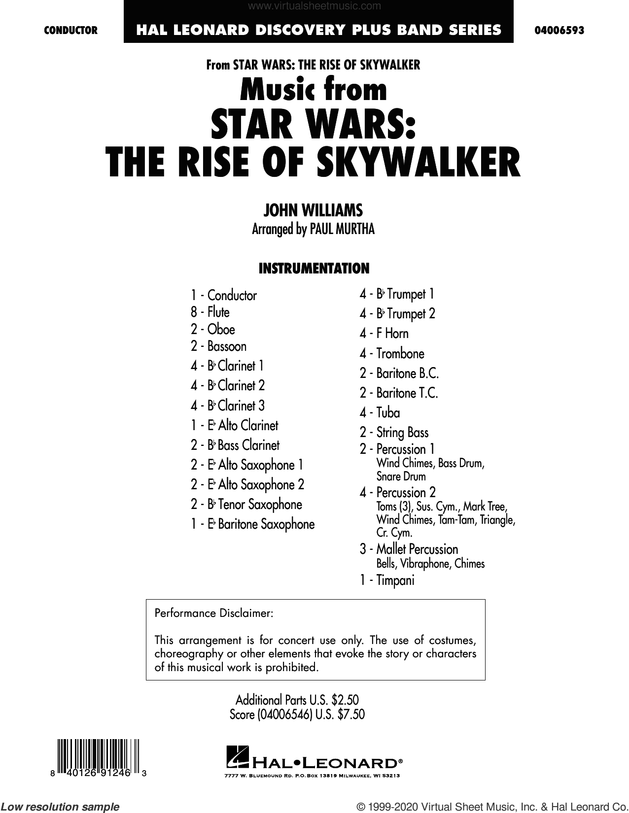 Music from Star Wars: The Rise of Skywalker (arr. Paul Murtha) (COMPLETE) sheet music for concert band by John Williams and Paul Murtha, intermediate skill level