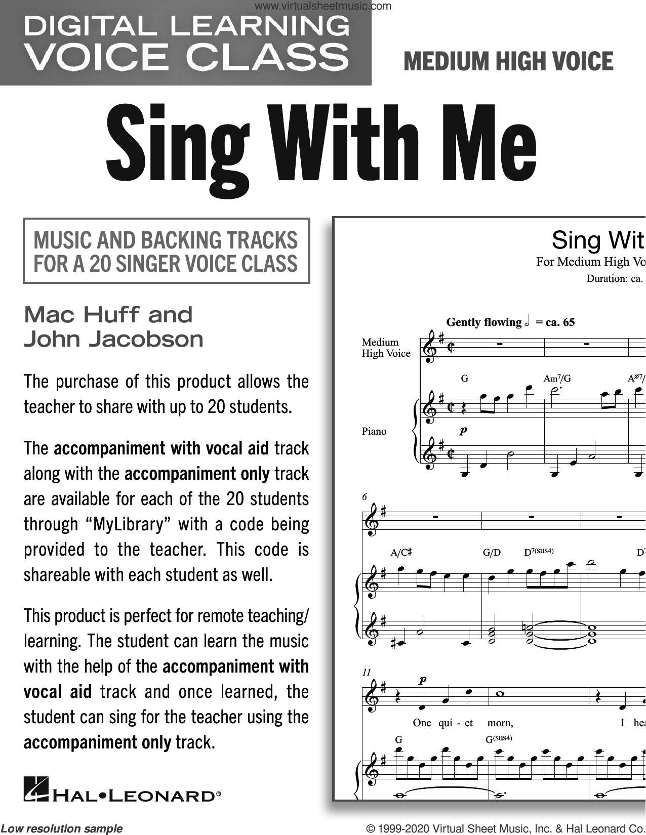 Sing With Me (Medium High Voice) (includes Audio) sheet music for voice and piano (Medium High Voice) by Mac Huff and John Jacobson, John Jacobson and Mac Huff, intermediate skill level