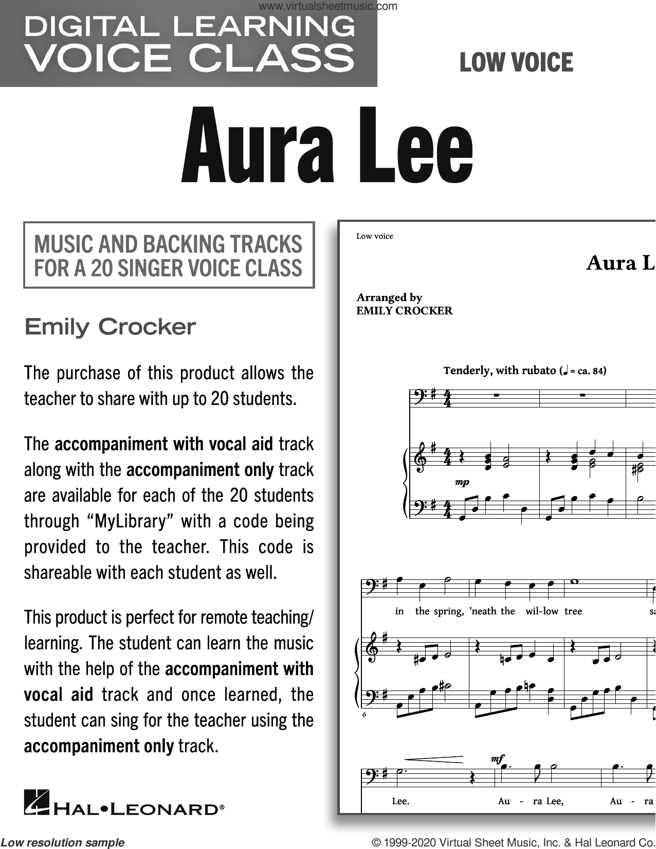 Aura Lee (Medium Low Voice) (includes Audio) sheet music for voice and piano (Medium Low Voice) by George R. Poulton, Emily Crocker and W.W. Fosdick, intermediate skill level