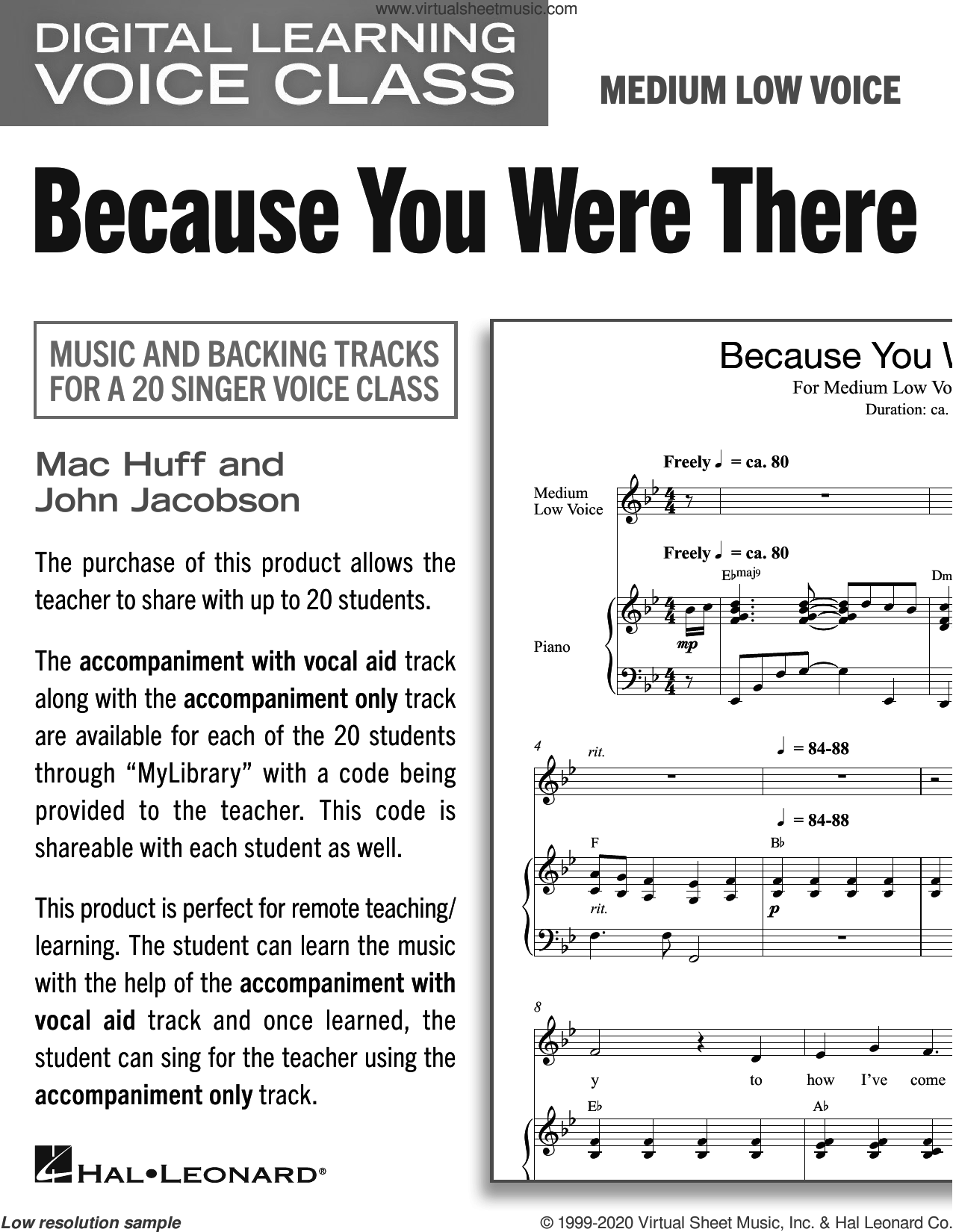 Because You Were There (Medium Low Voice) (includes Audio) sheet music for voice and piano (Medium Low Voice) by Mac Huff and John Jacobson, John Jacobson and Mac Huff, intermediate skill level